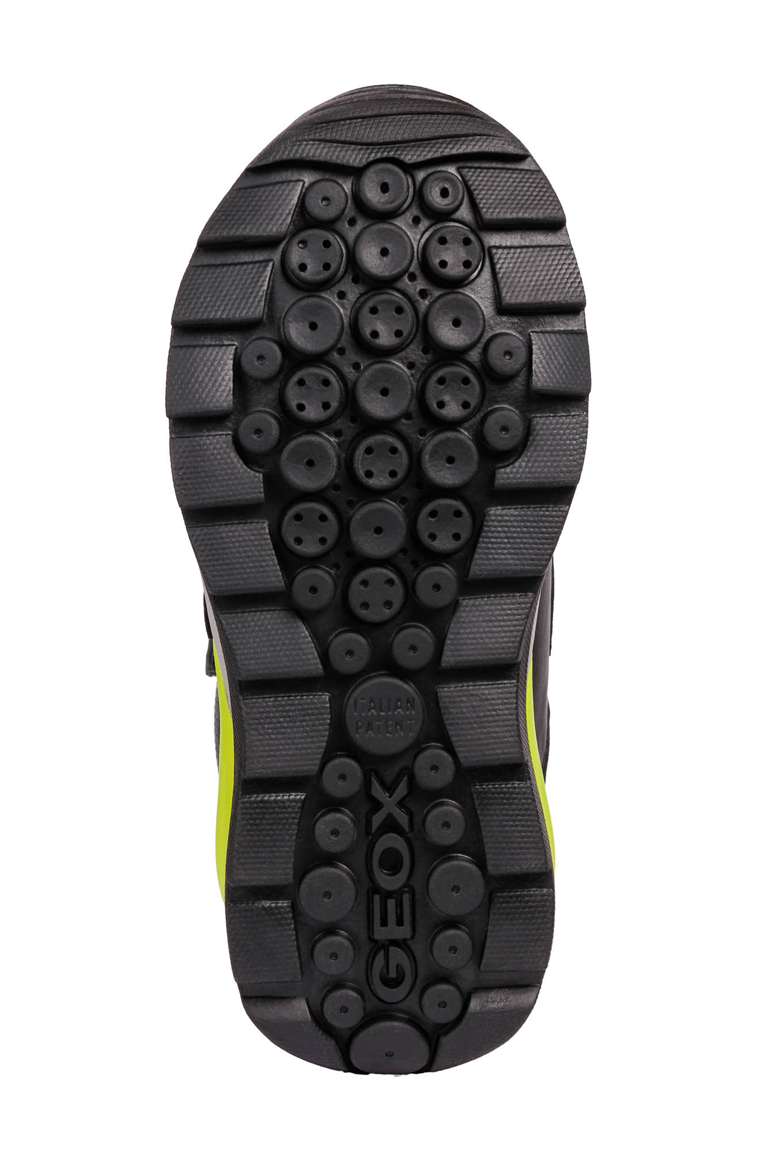 GEOX, Orizont ABX Waterproof Boot, Alternate thumbnail 6, color, BLACK/ LIME