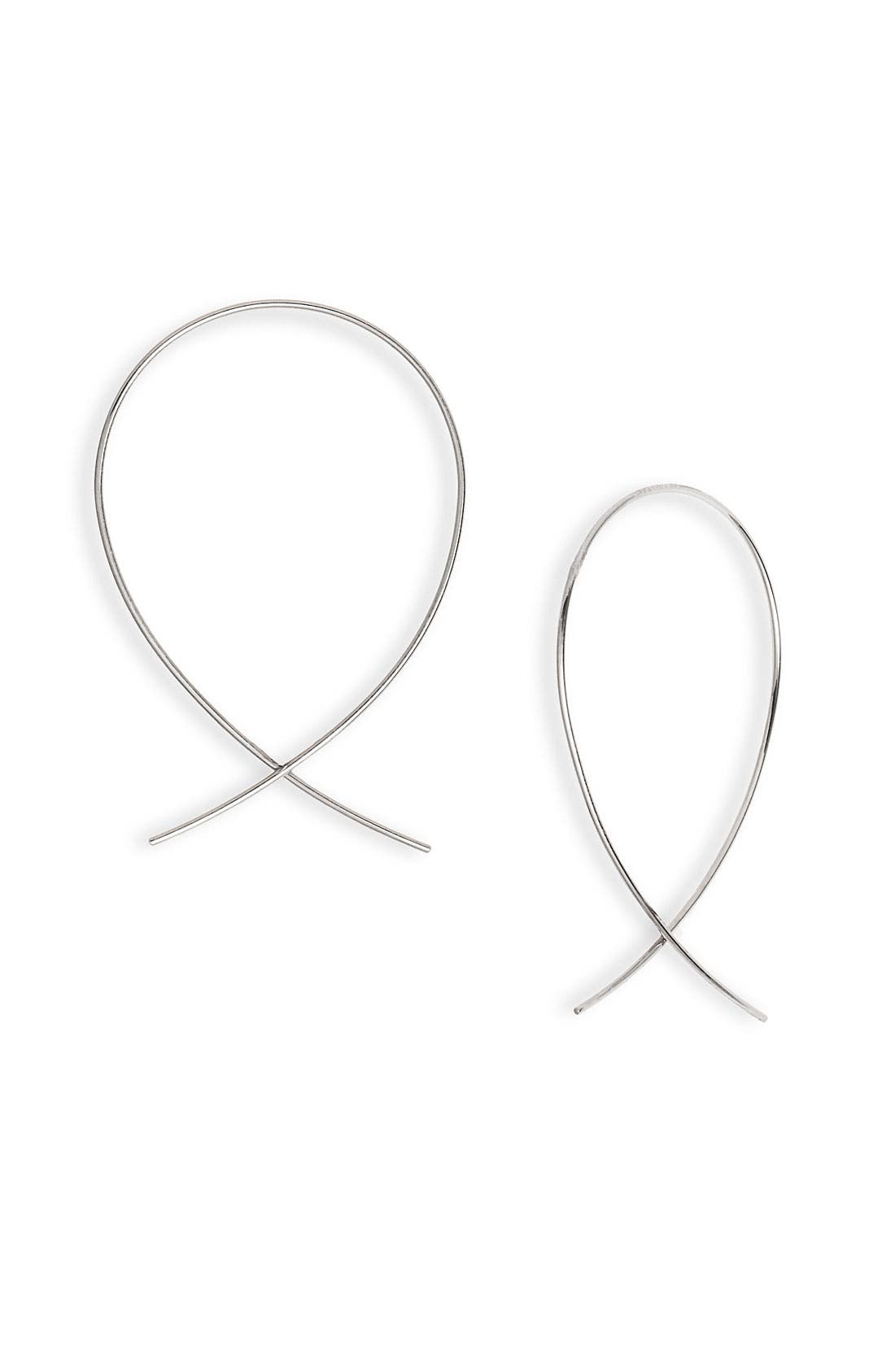 LANA JEWELRY 'Upside Down' Small Hoop Earrings, Main, color, WHITE GOLD