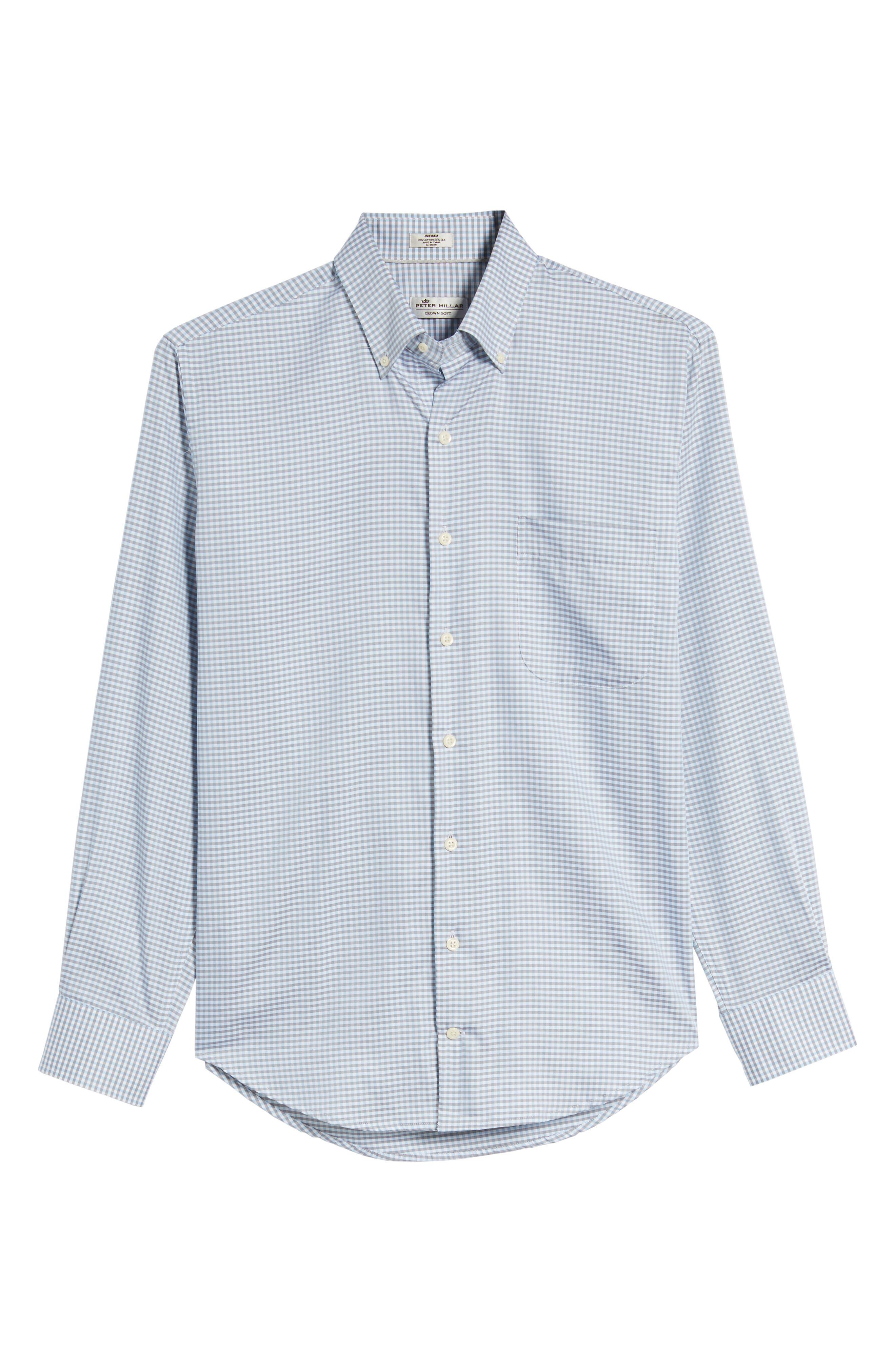 PETER MILLAR, Crown Regular Fit Mini Check Sport Shirt, Alternate thumbnail 6, color, TAR HEEL BLUE