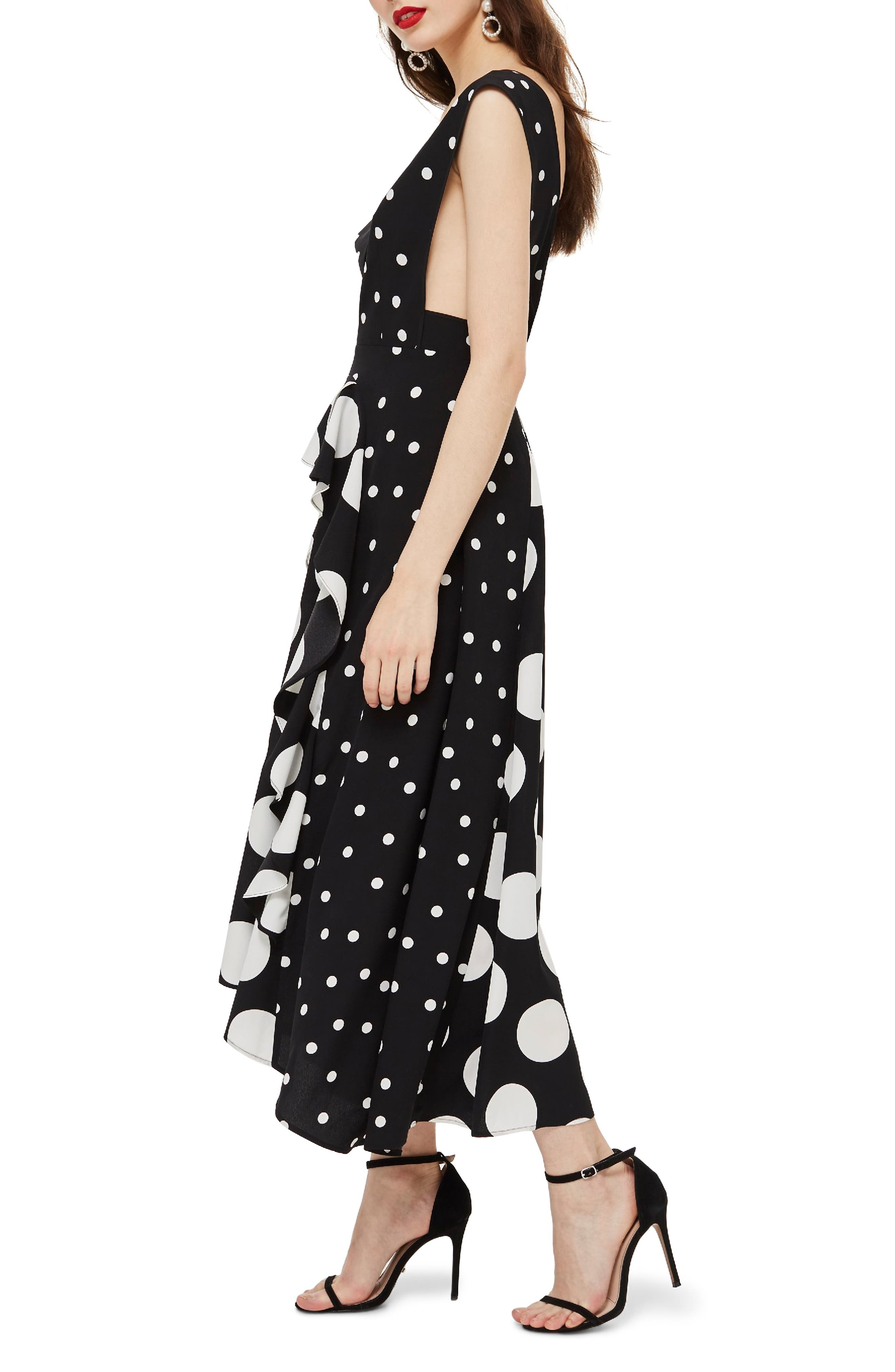 TOPSHOP, Spot Plunge Neck Midi Dress, Alternate thumbnail 4, color, 001