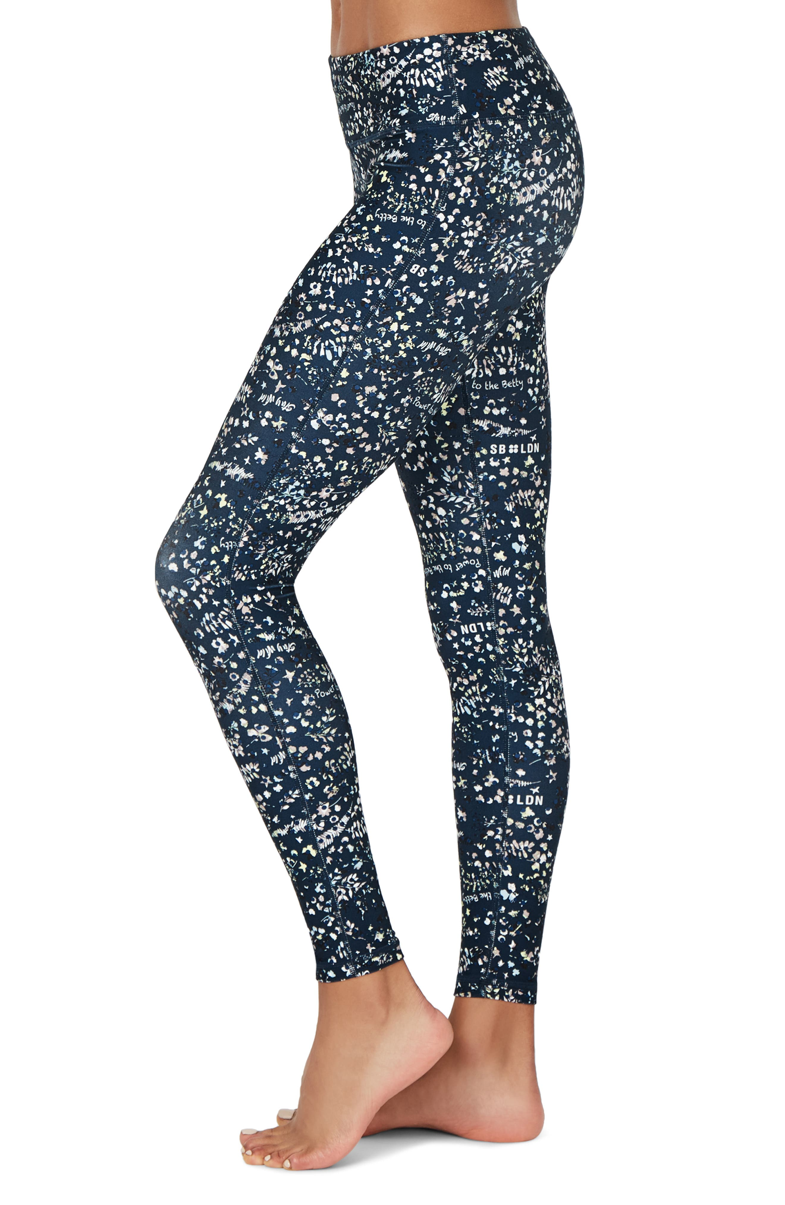 SWEATY BETTY, Contour Leggings, Alternate thumbnail 4, color, BEETLE BLUE STAY WILD PRINT