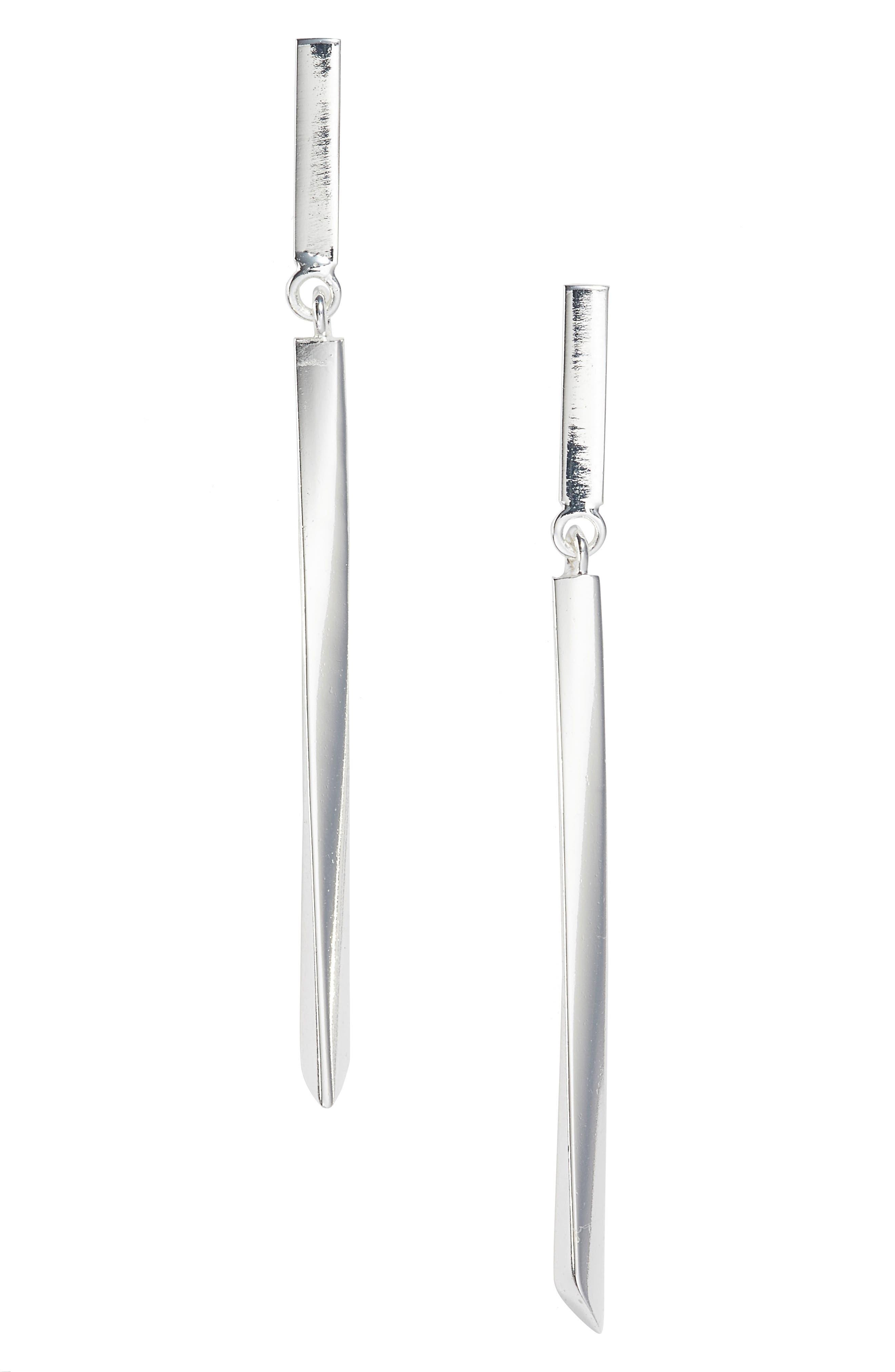 ARGENTO VIVO, Linear Drop Earrings, Main thumbnail 1, color, SILVER
