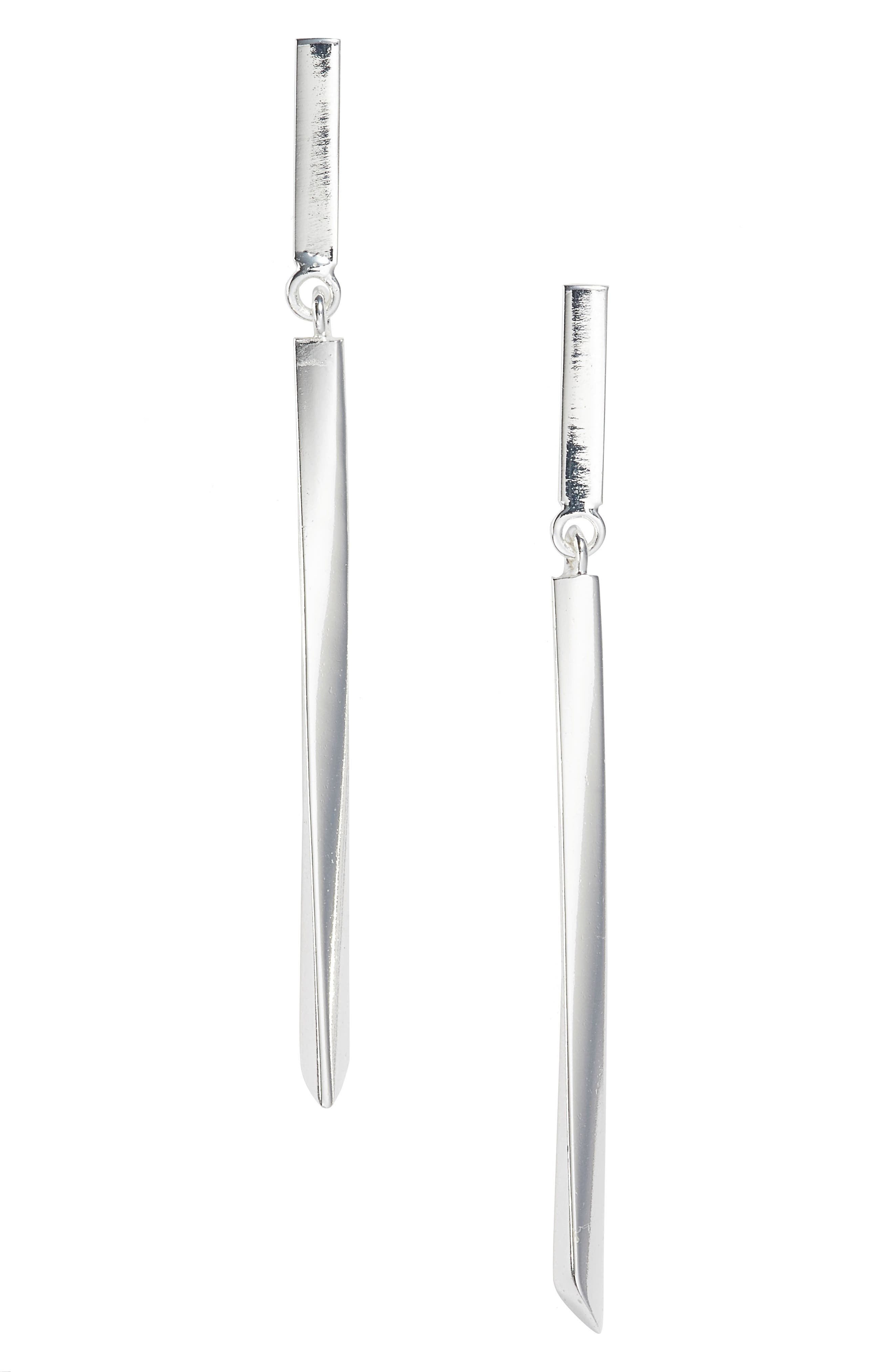 ARGENTO VIVO Linear Drop Earrings, Main, color, SILVER