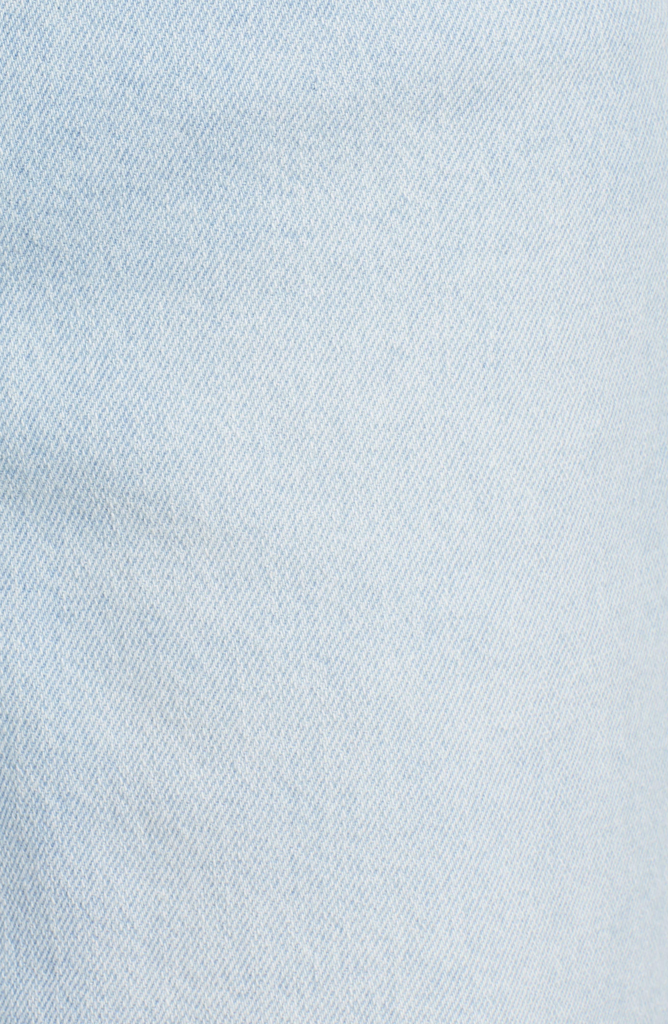 PROSPERITY DENIM, Fray Hem Wide Leg Crop Jeans, Alternate thumbnail 6, color, LIGHT WASH