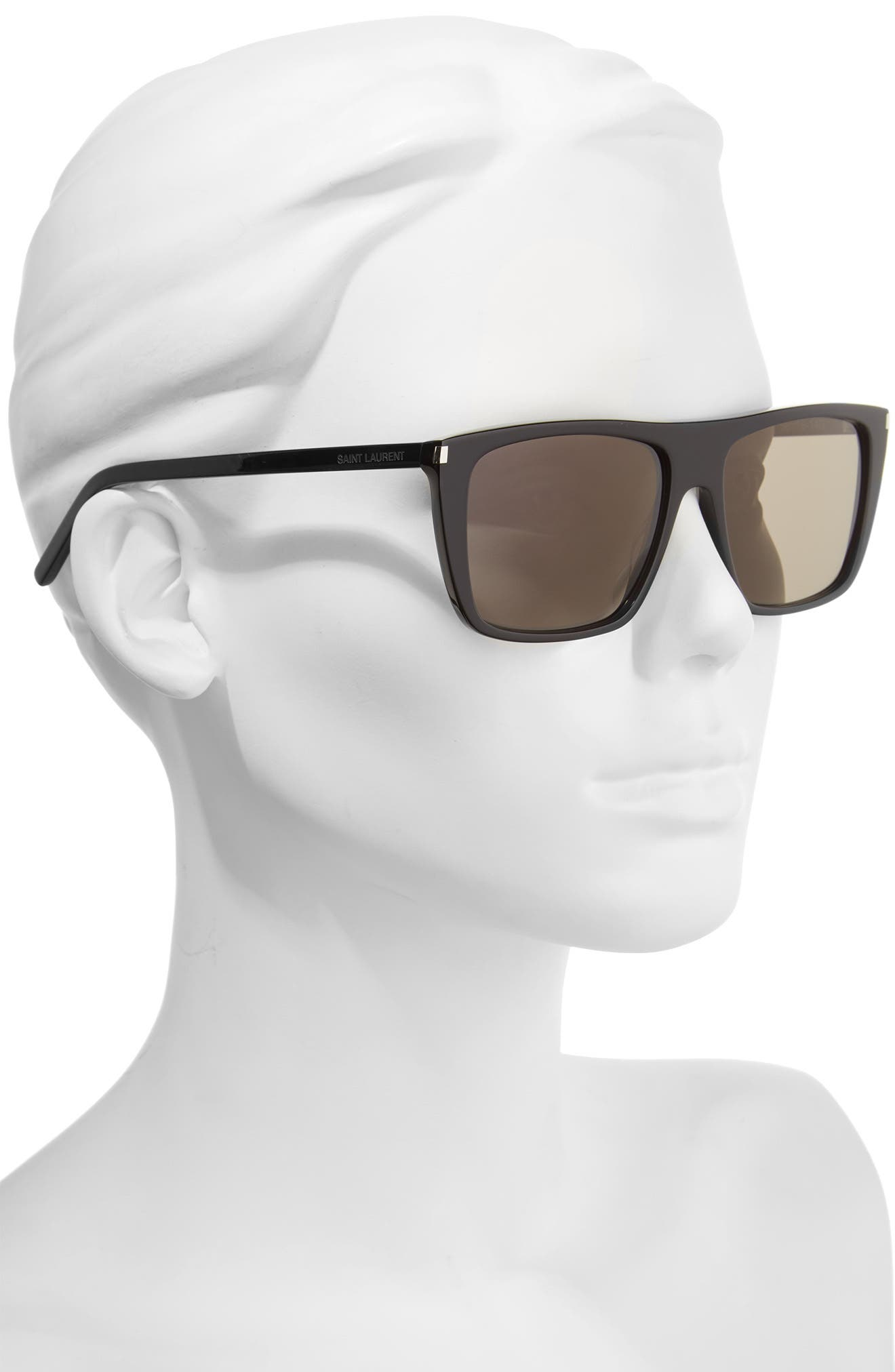 SAINT LAURENT, Avana 56mm Flat Top Sunglasses, Alternate thumbnail 2, color, 001