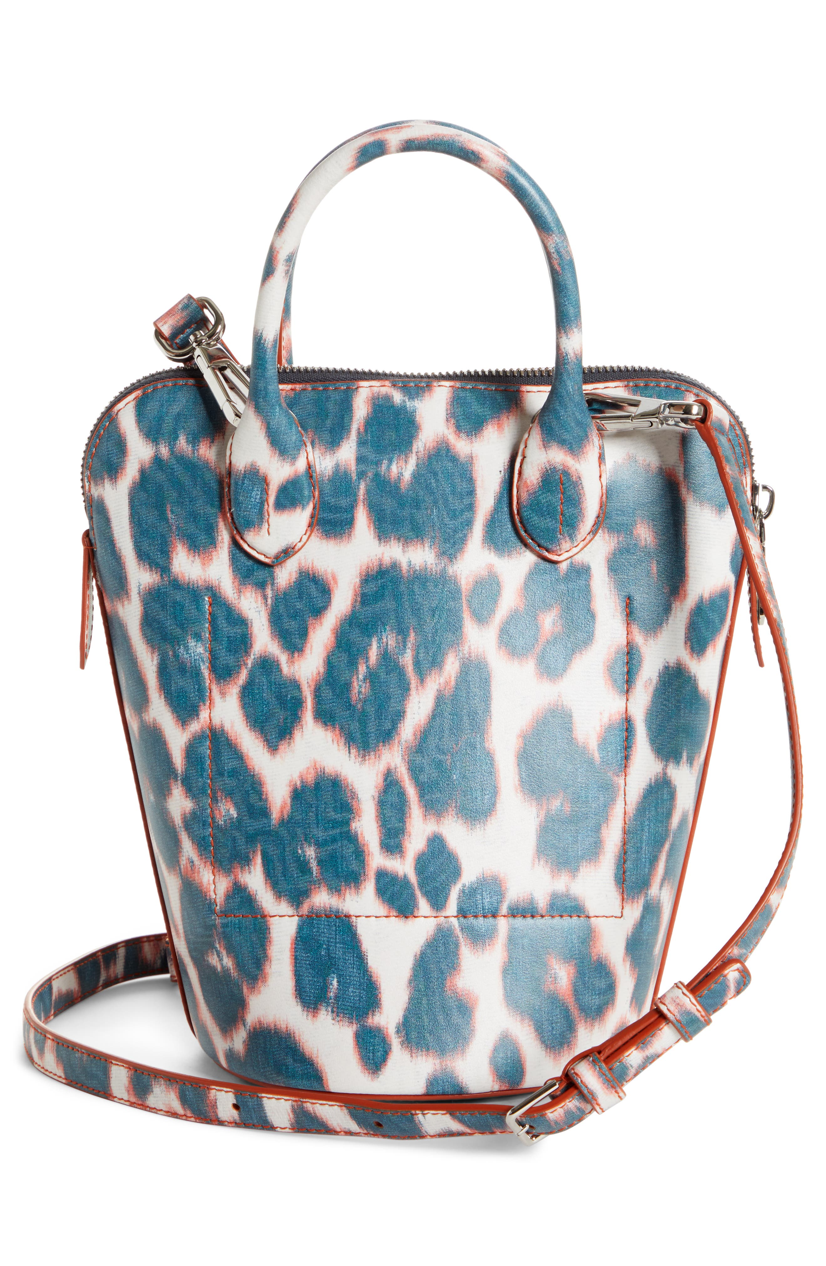 CALVIN KLEIN 205W39NYC, Mini Dalton Calfskin Bucket Bag, Alternate thumbnail 3, color, ELECTRIC PANTHER