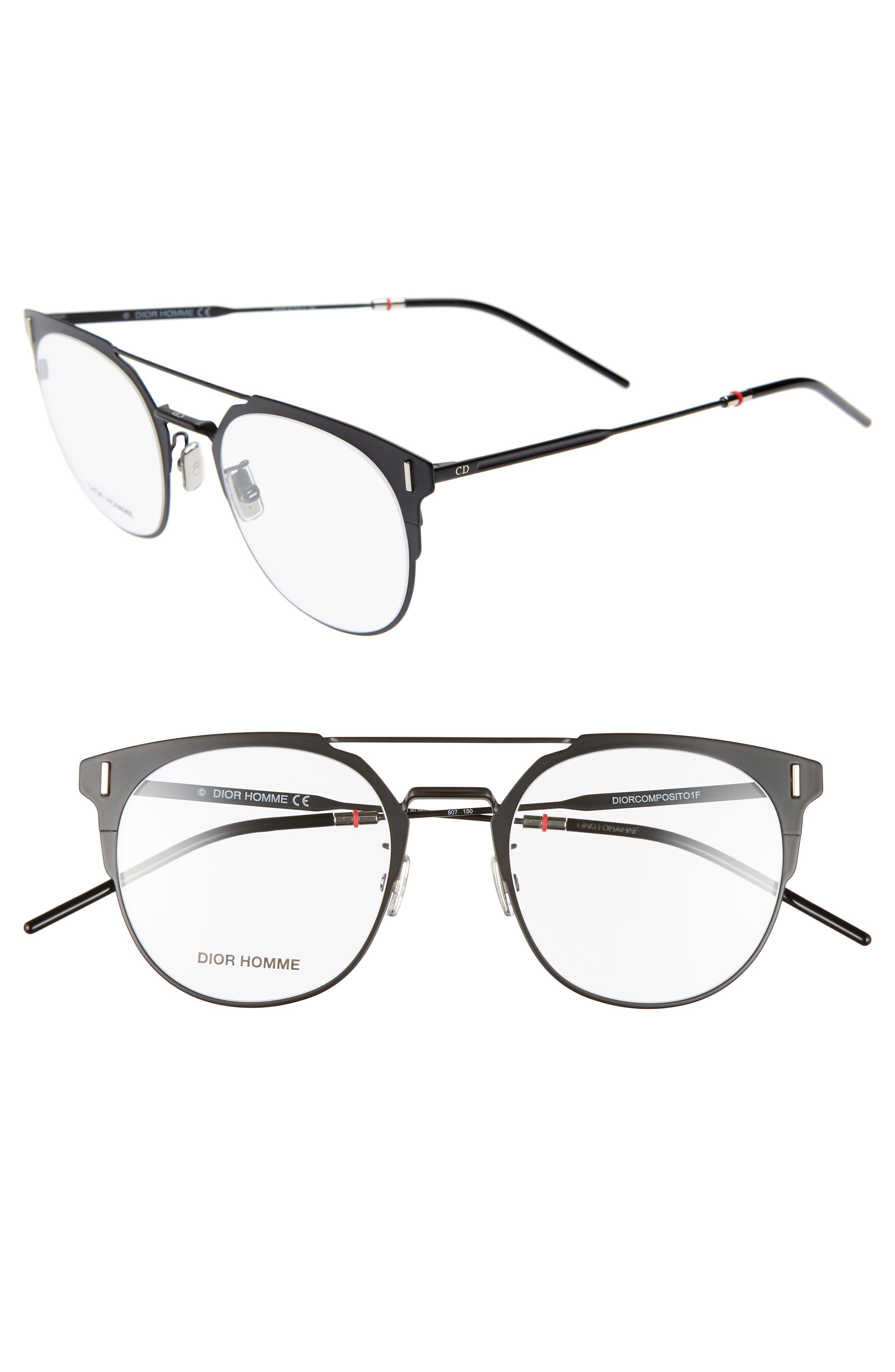 DIOR 51mm Round Optical Glasses, Main, color, 001