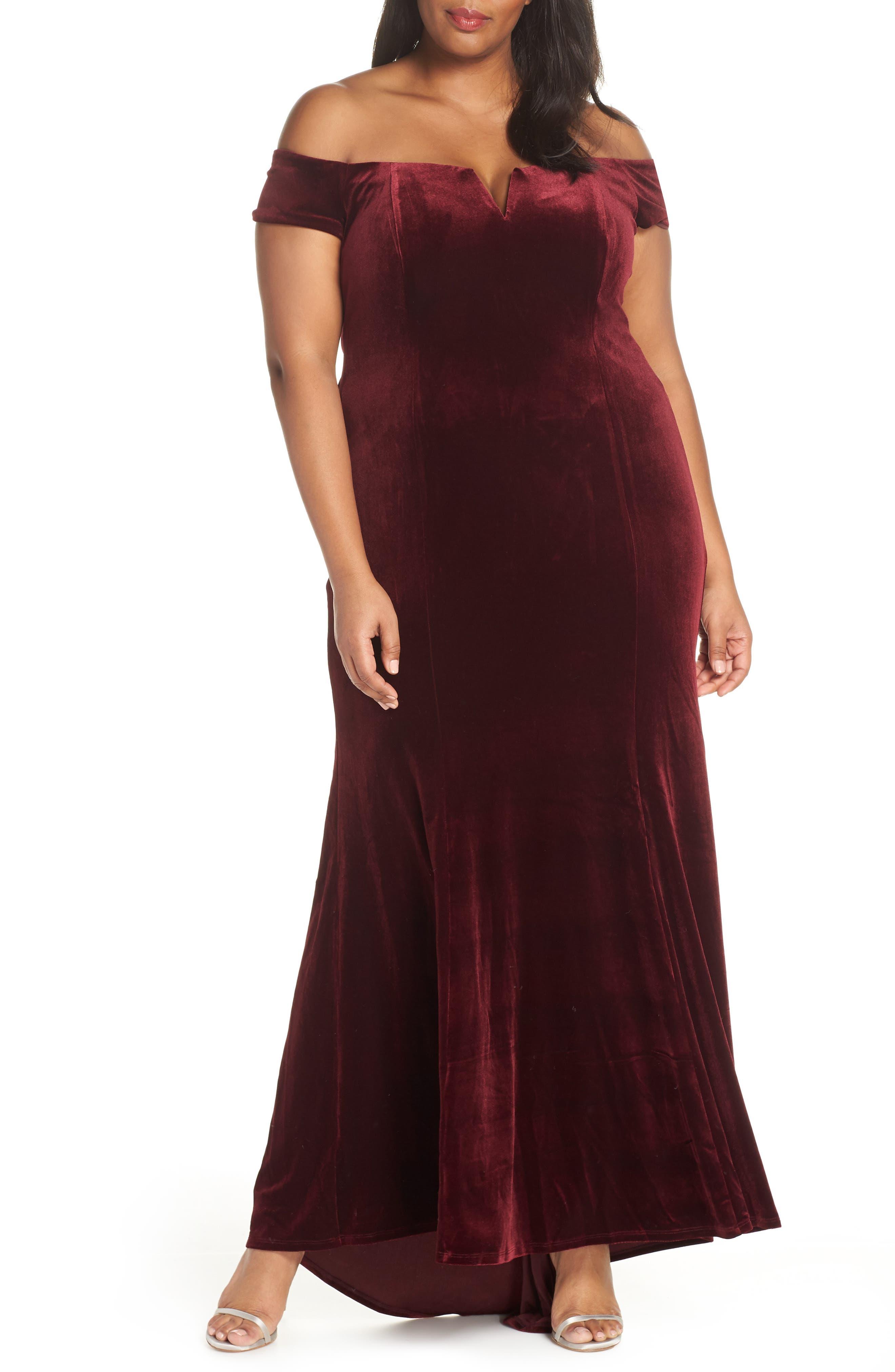VINCE CAMUTO Notch Neck Velvet Off the Shoulder Gown, Main, color, 930