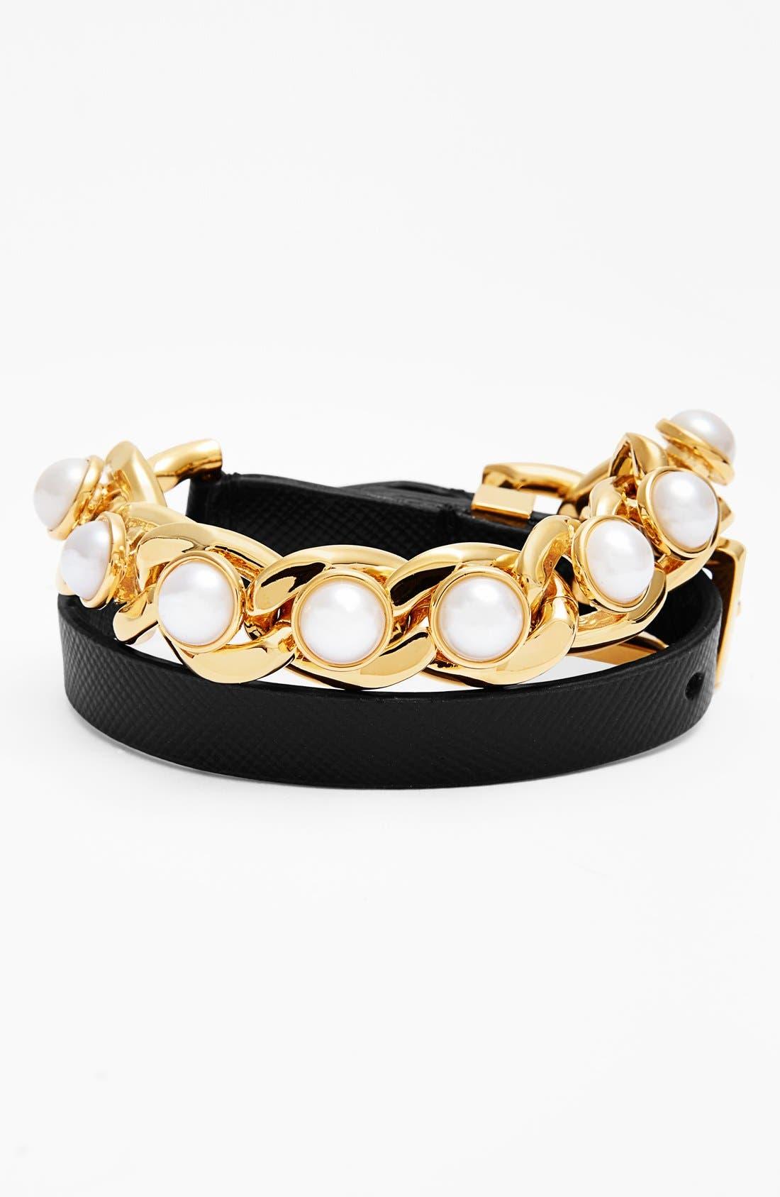 TORY BURCH 'Winchel' Leather & Chain Double Wrap Bracelet, Main, color, 001