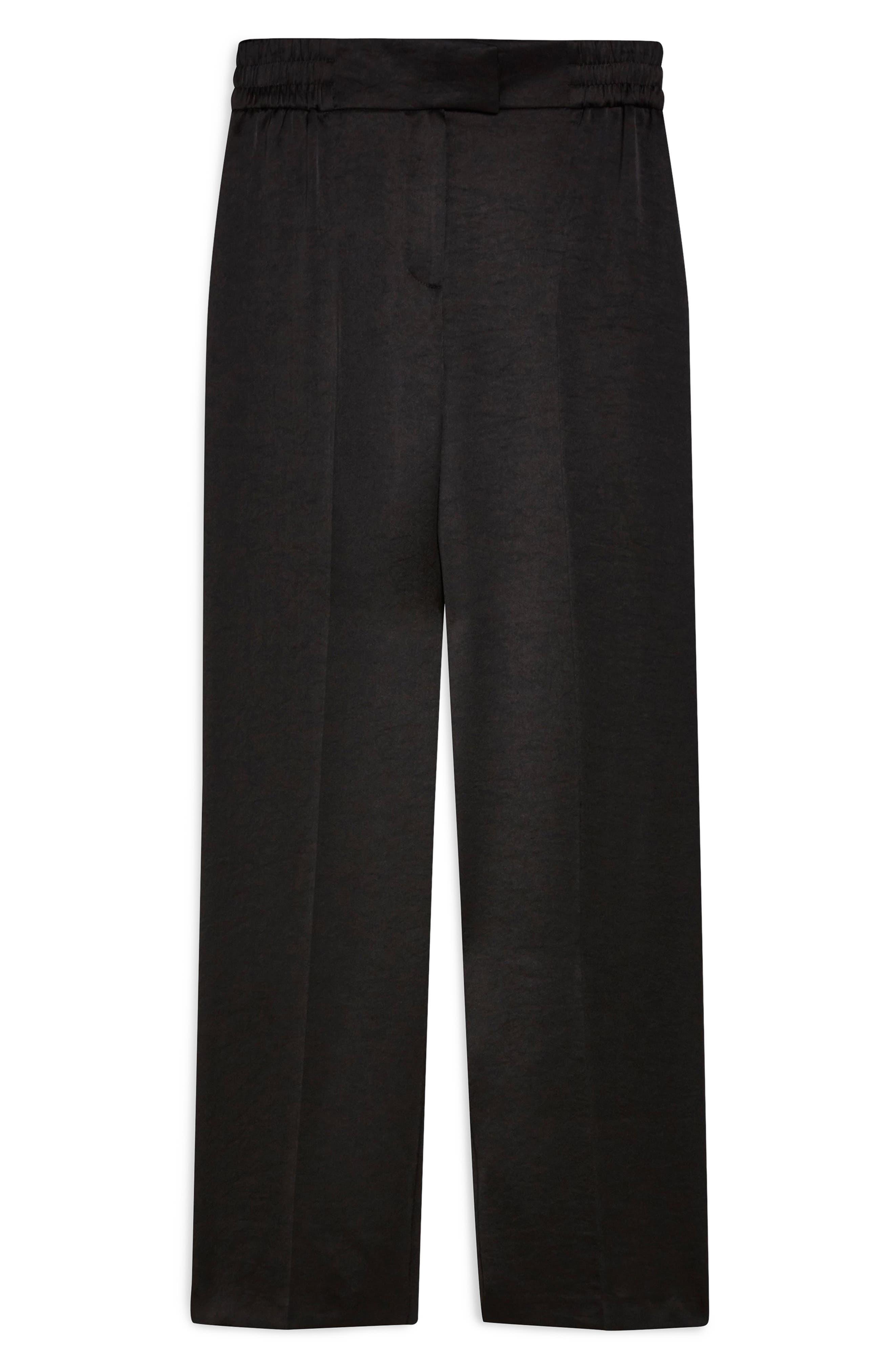 TOPSHOP, Elastic Satin Trousers, Alternate thumbnail 4, color, 001