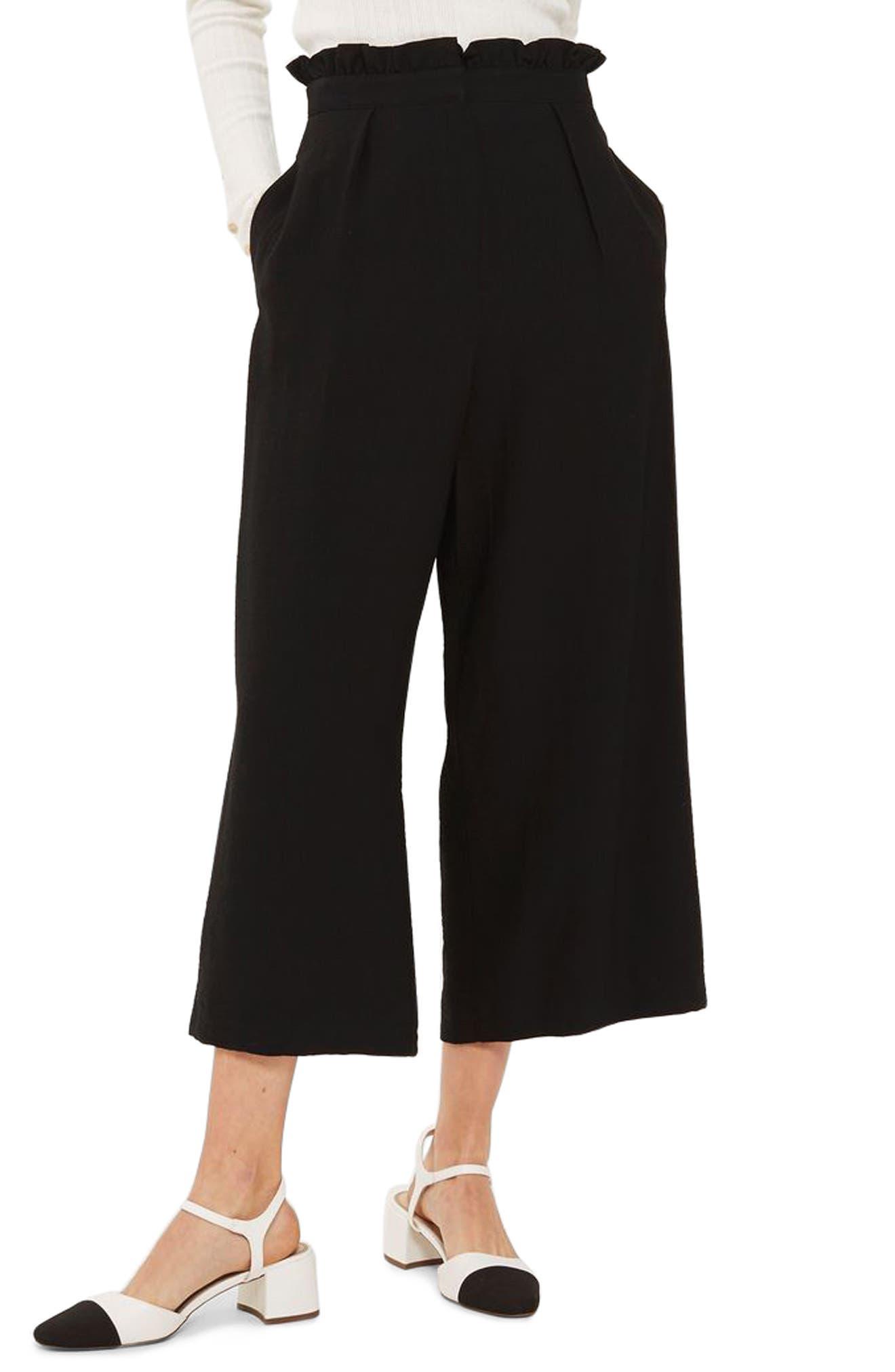 TOPSHOP, Ruffle Waist Trousers, Main thumbnail 1, color, 001