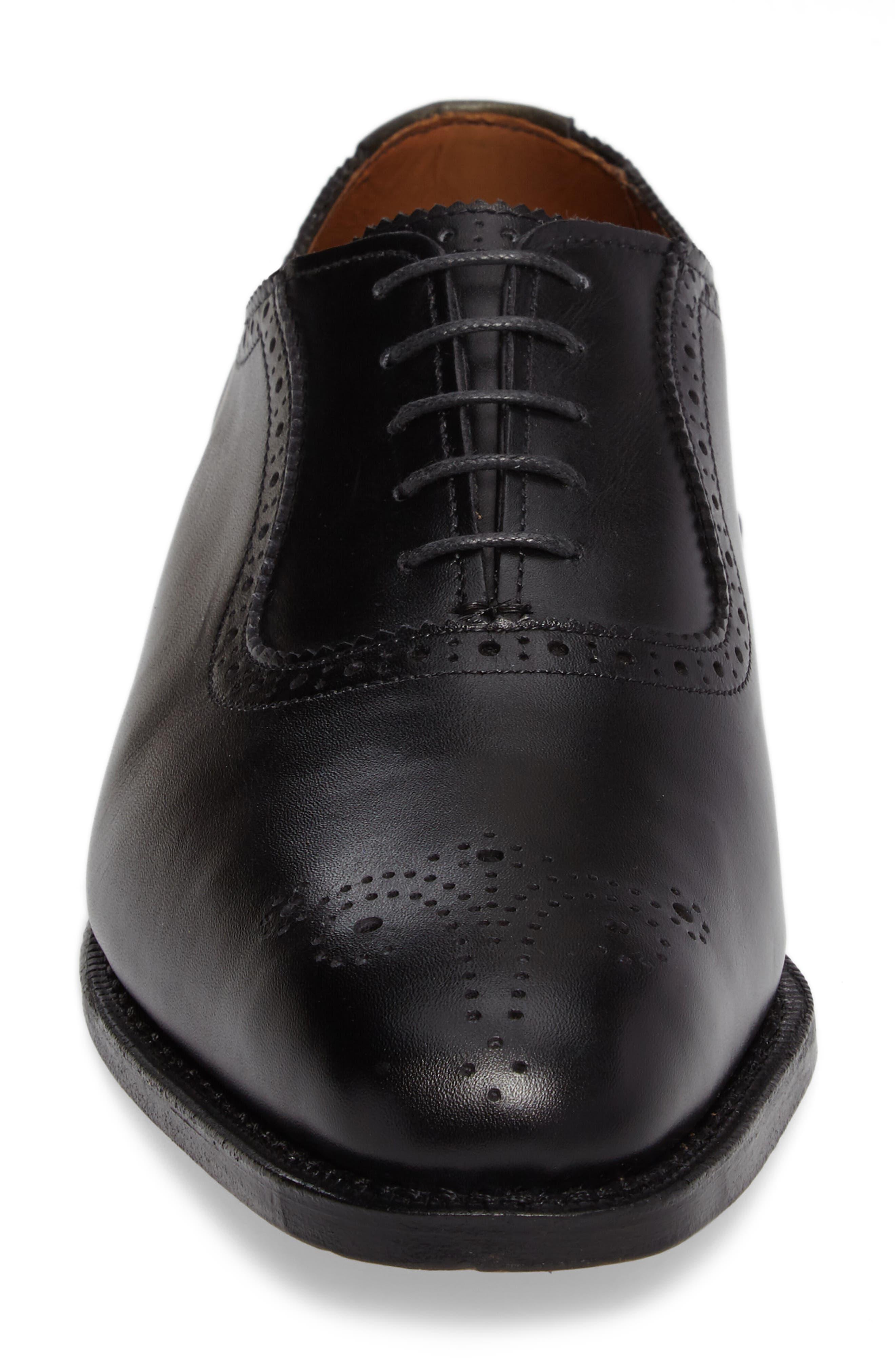 ALLEN EDMONDS, Cornwallis Medallion Toe Oxford, Alternate thumbnail 4, color, BLACK