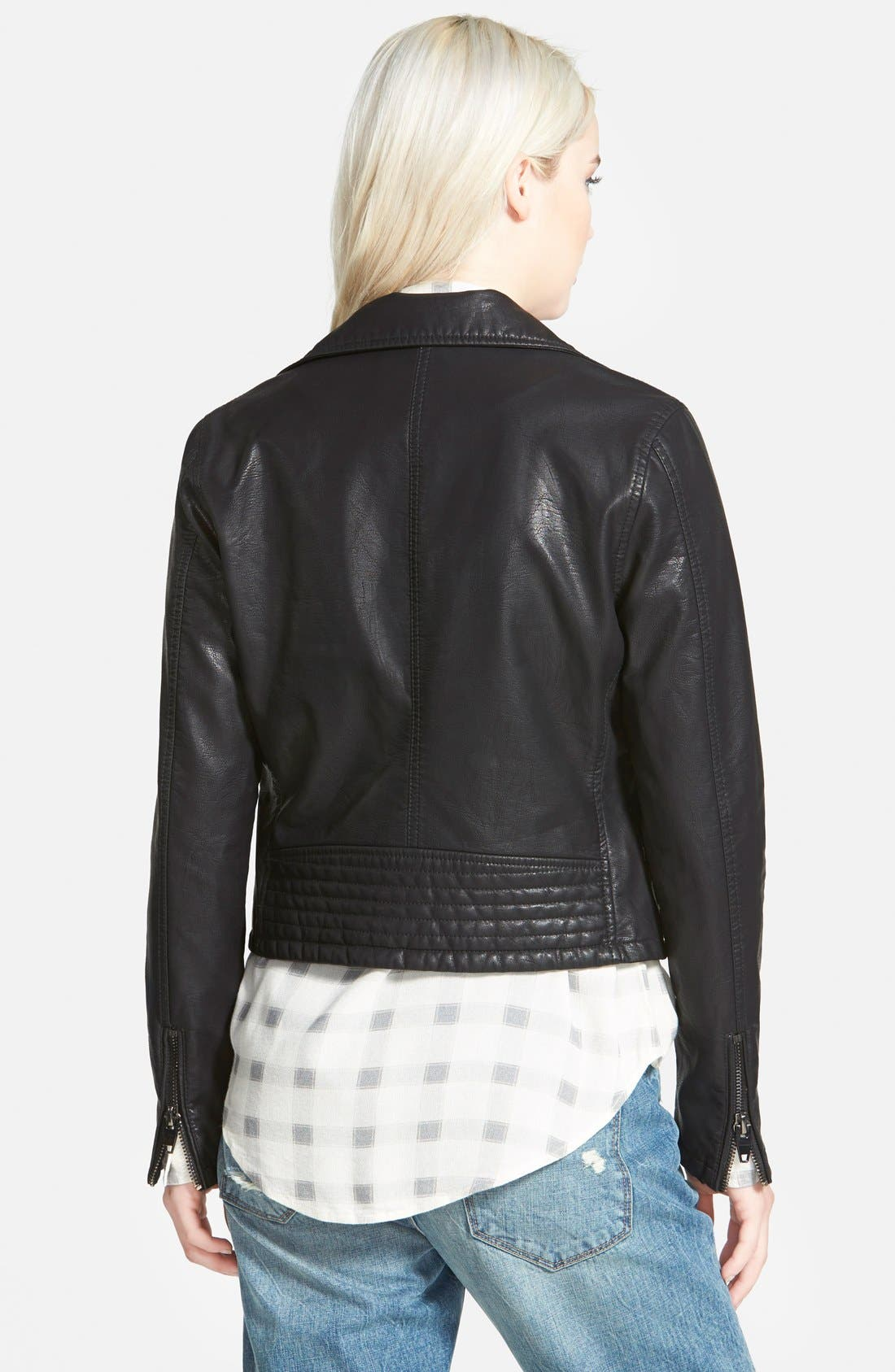 BLANKNYC, Faux Leather Moto Jacket, Alternate thumbnail 3, color, 001
