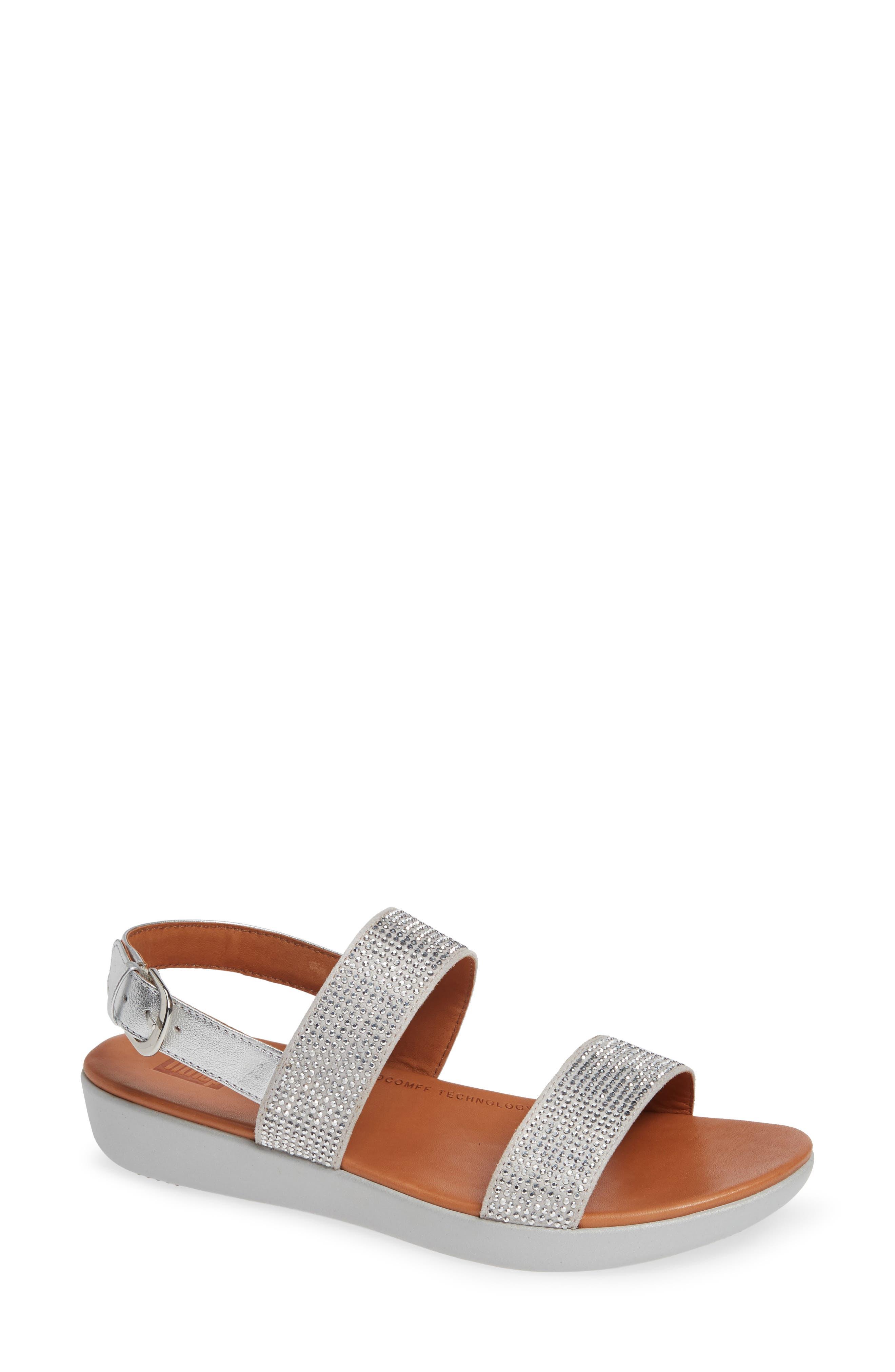 Fitflop Barra Crystal Embellished Sandal, Metallic