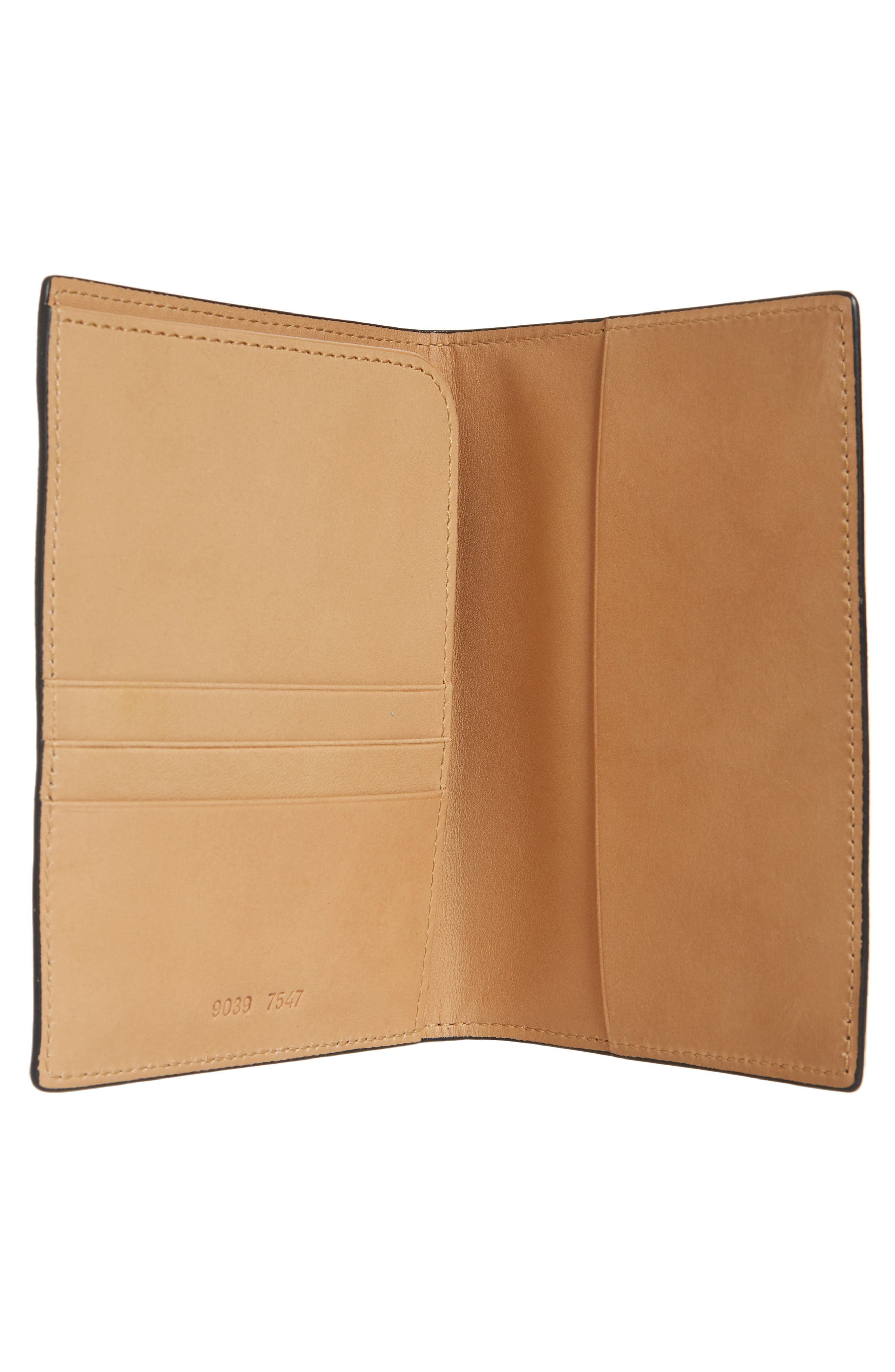 COMMON PROJECTS, Nappa Leather Passport Holder, Alternate thumbnail 2, color, 001