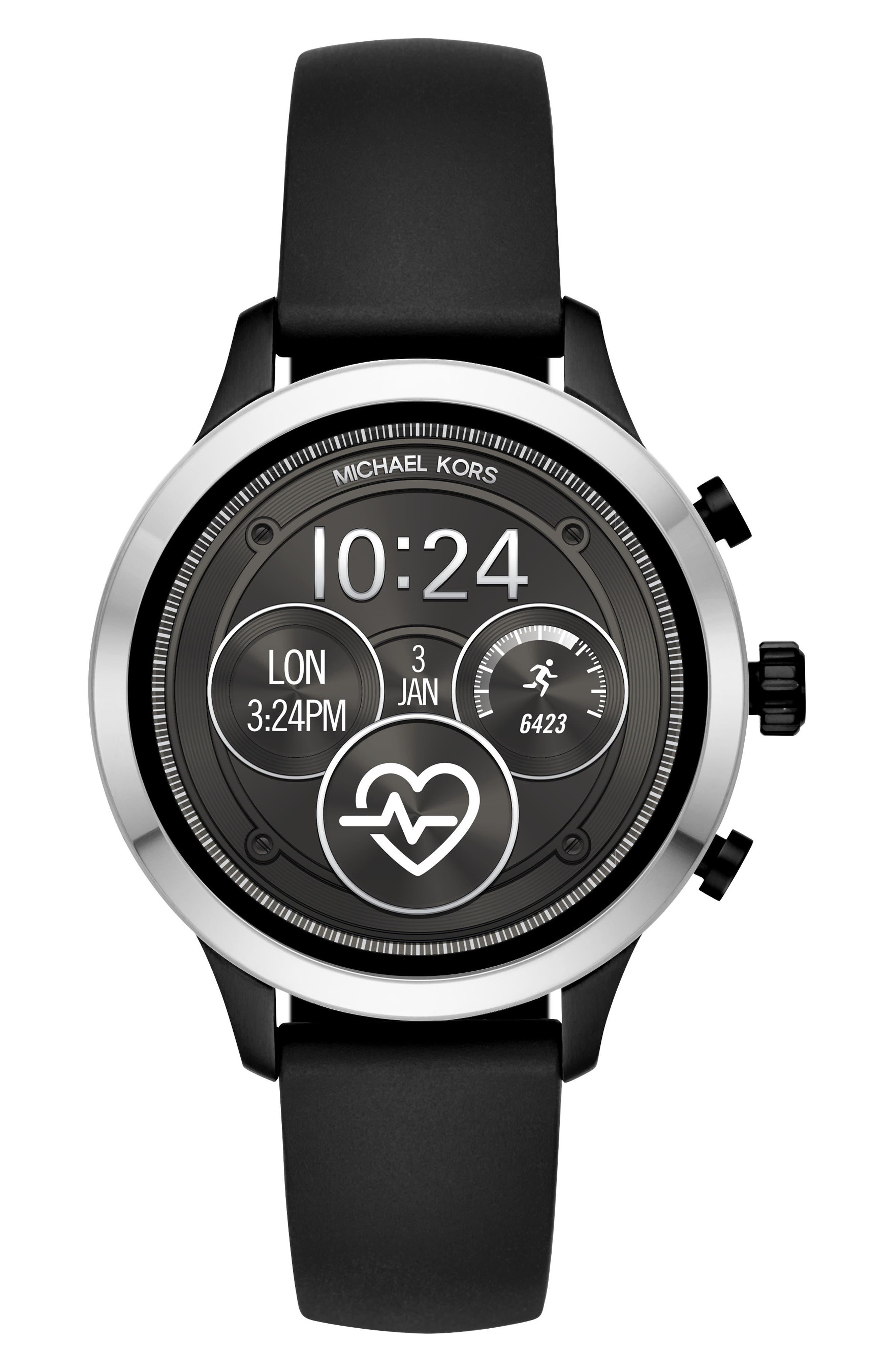 MICHAEL KORS, MICHAEL Michael Kors Access Runway Smart Watch, 41mm, Main thumbnail 1, color, 001