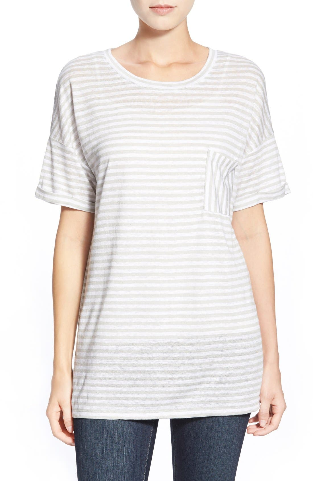 CASLON<SUP>®</SUP> Cuff Sleeve One-Pocket Stripe Tee, Main, color, 050