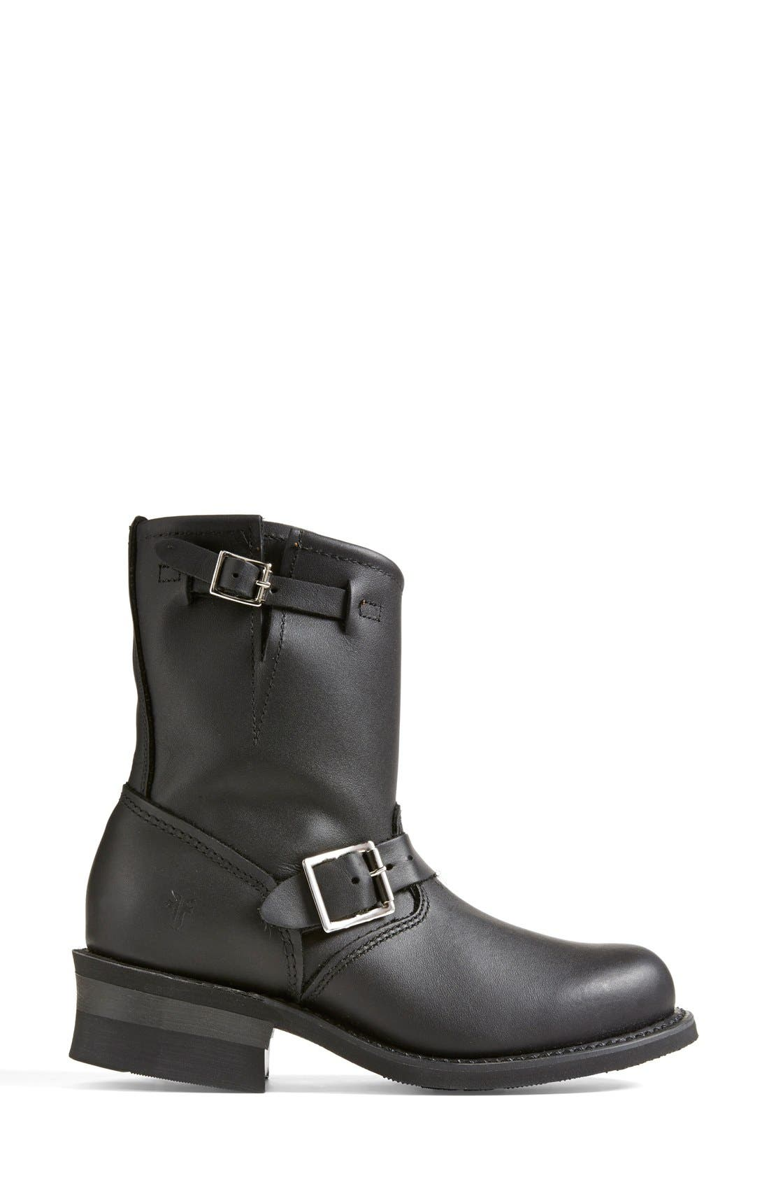FRYE, 'Engineer 8R' Leather Boot, Alternate thumbnail 5, color, BLACK