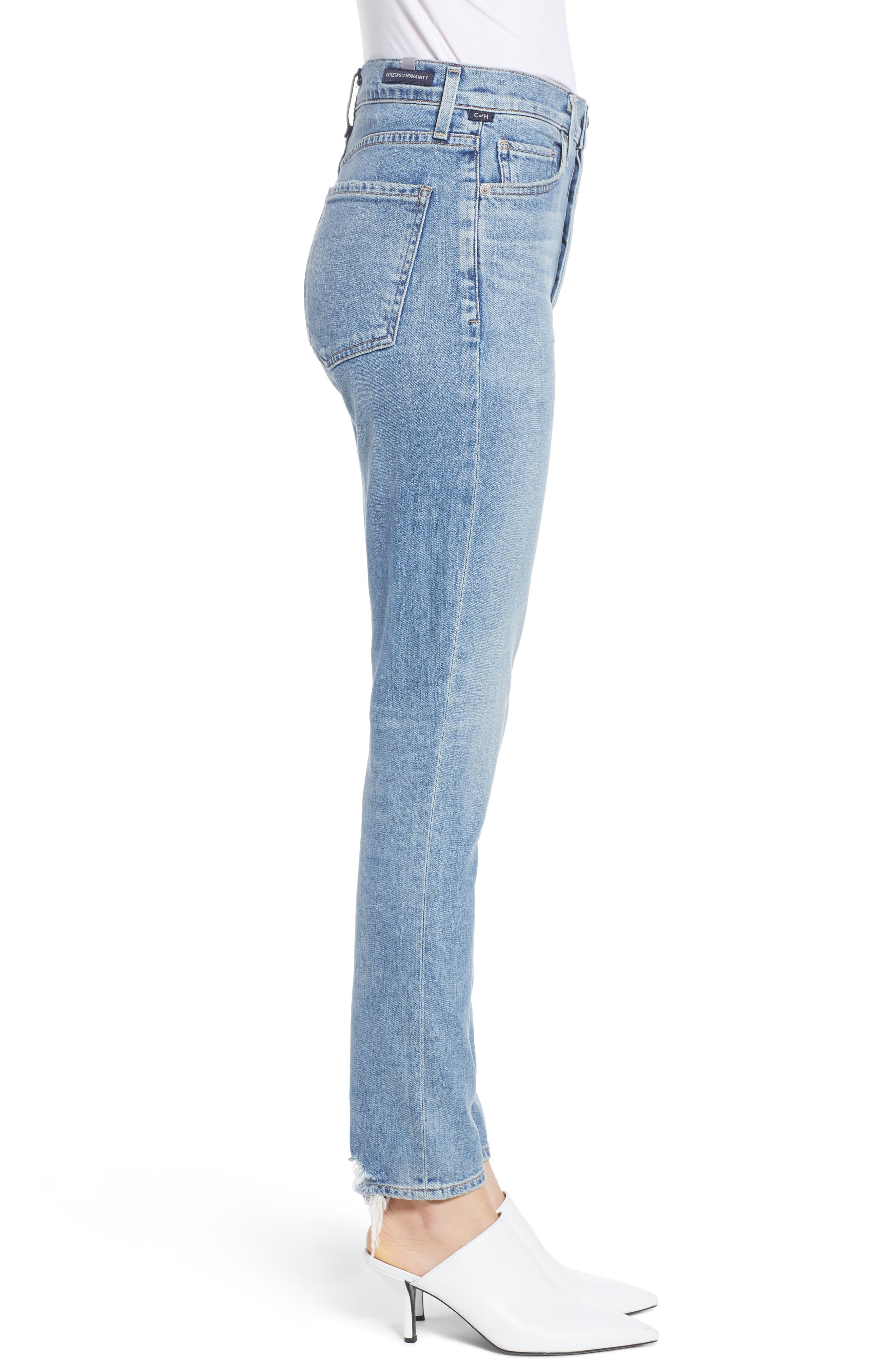 CITIZENS OF HUMANITY, Olivia High Waist Ankle Slim Jeans, Alternate thumbnail 4, color, BACK ROAD