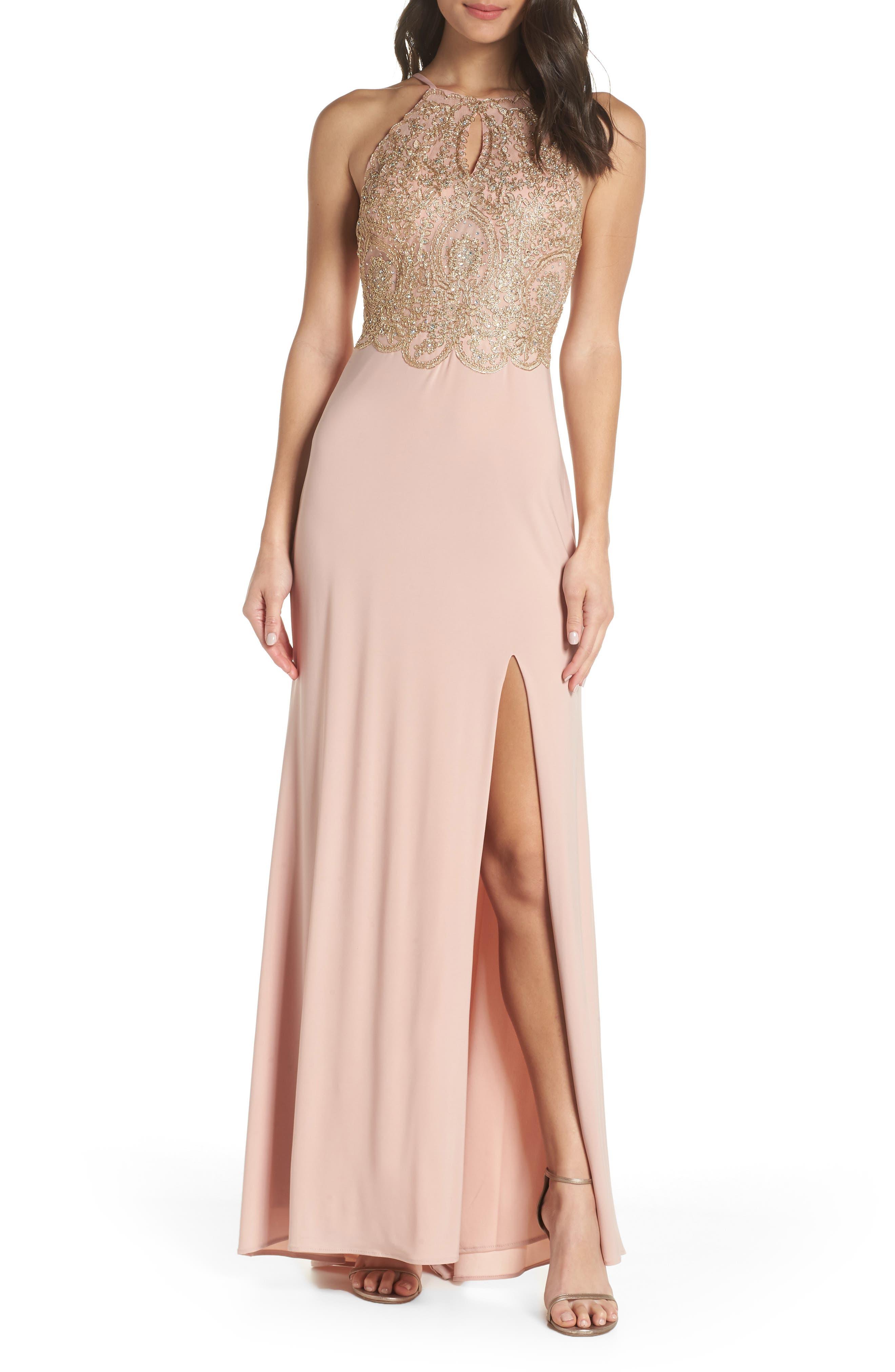 Blondie Nites Embellished Applique Halter Gown, Pink