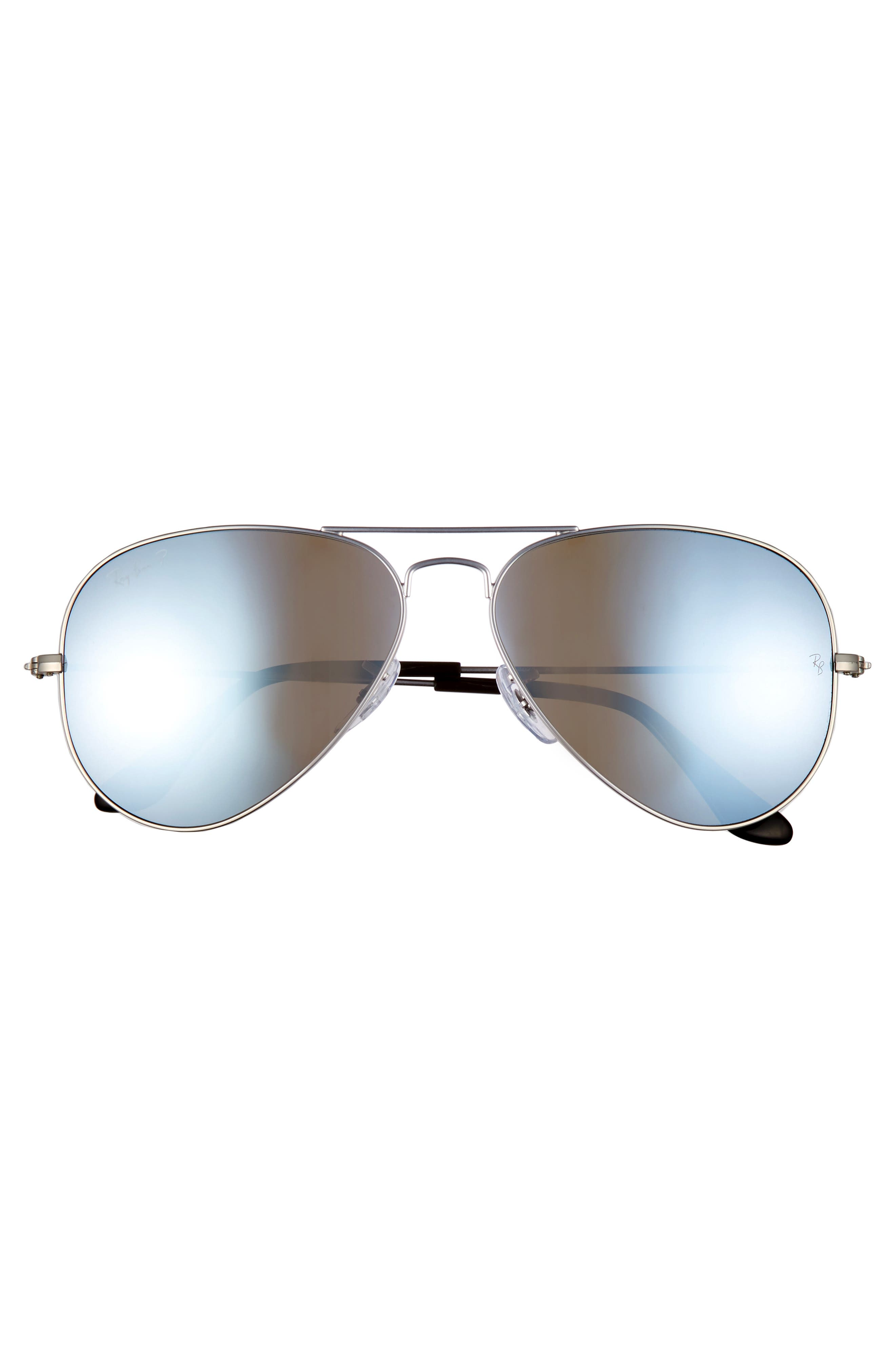 RAY-BAN, Standard Icons 58mm Mirrored Polarized Aviator Sunglasses, Alternate thumbnail 3, color, SILVER/ SILVER MIRROR
