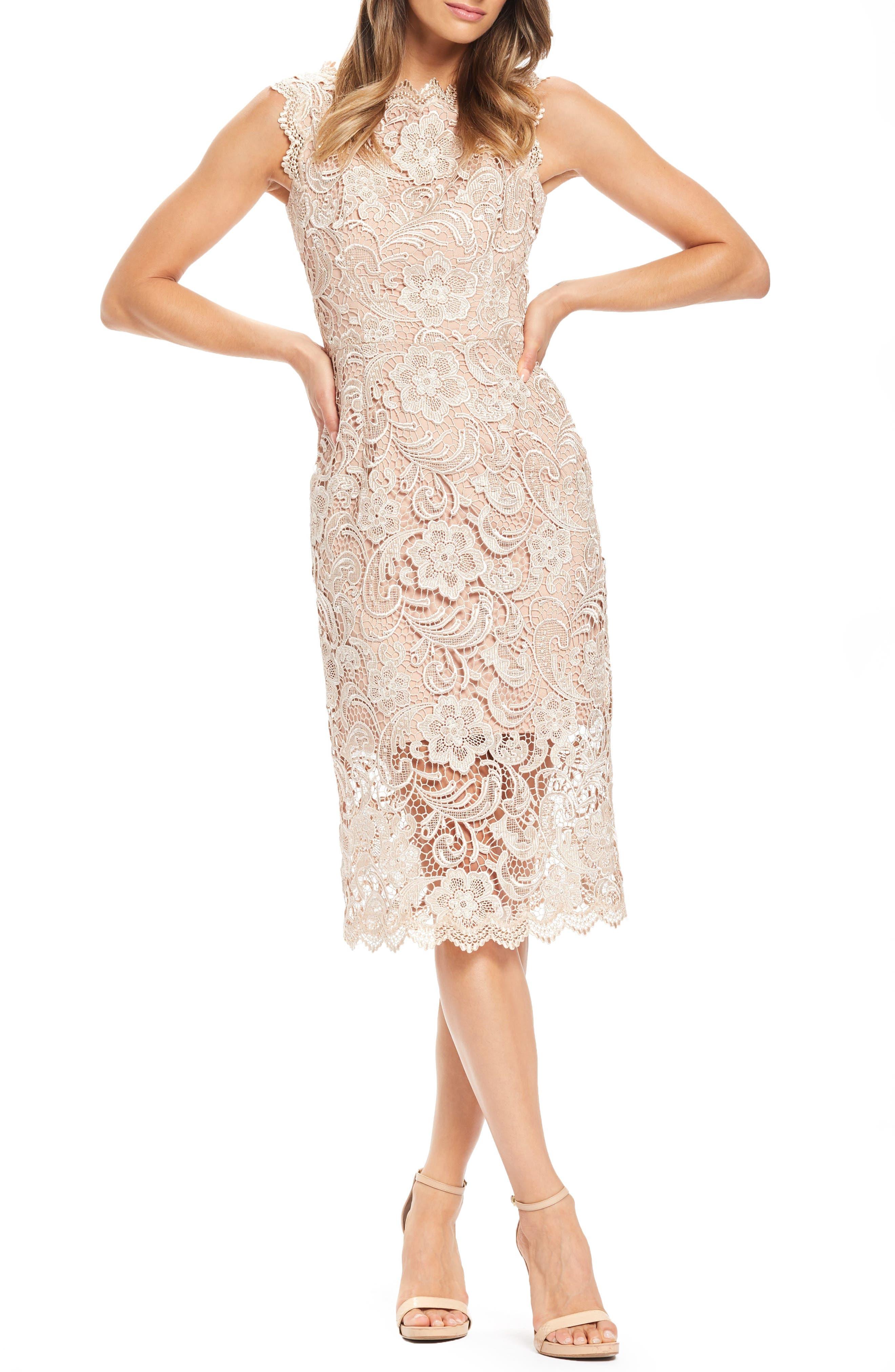 Dress The Population Claudette Crochet Lace Sheath Dress, Beige