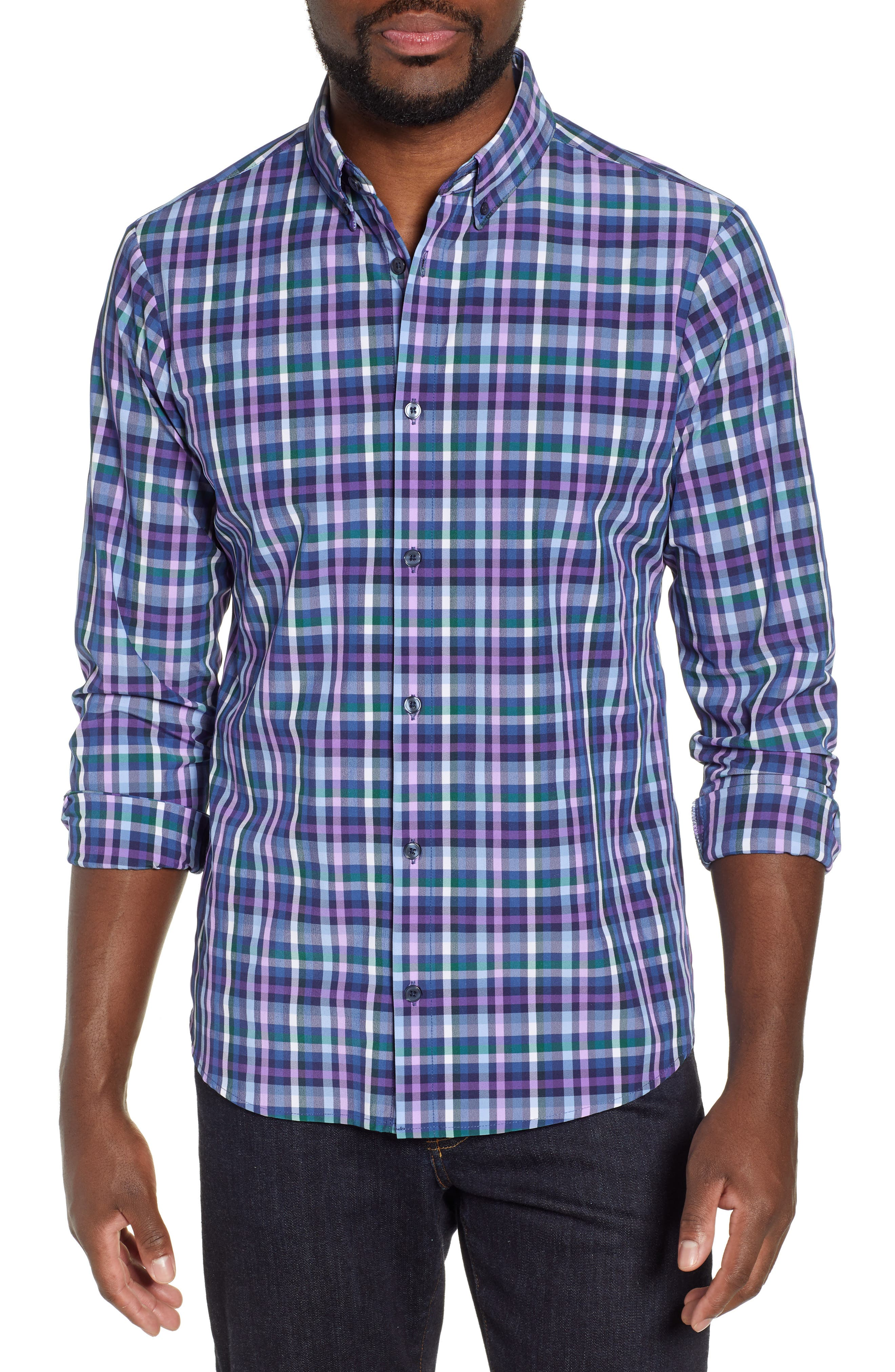 MIZZEN+MAIN Snyder Plaid Performance Sport Shirt, Main, color, NAVY