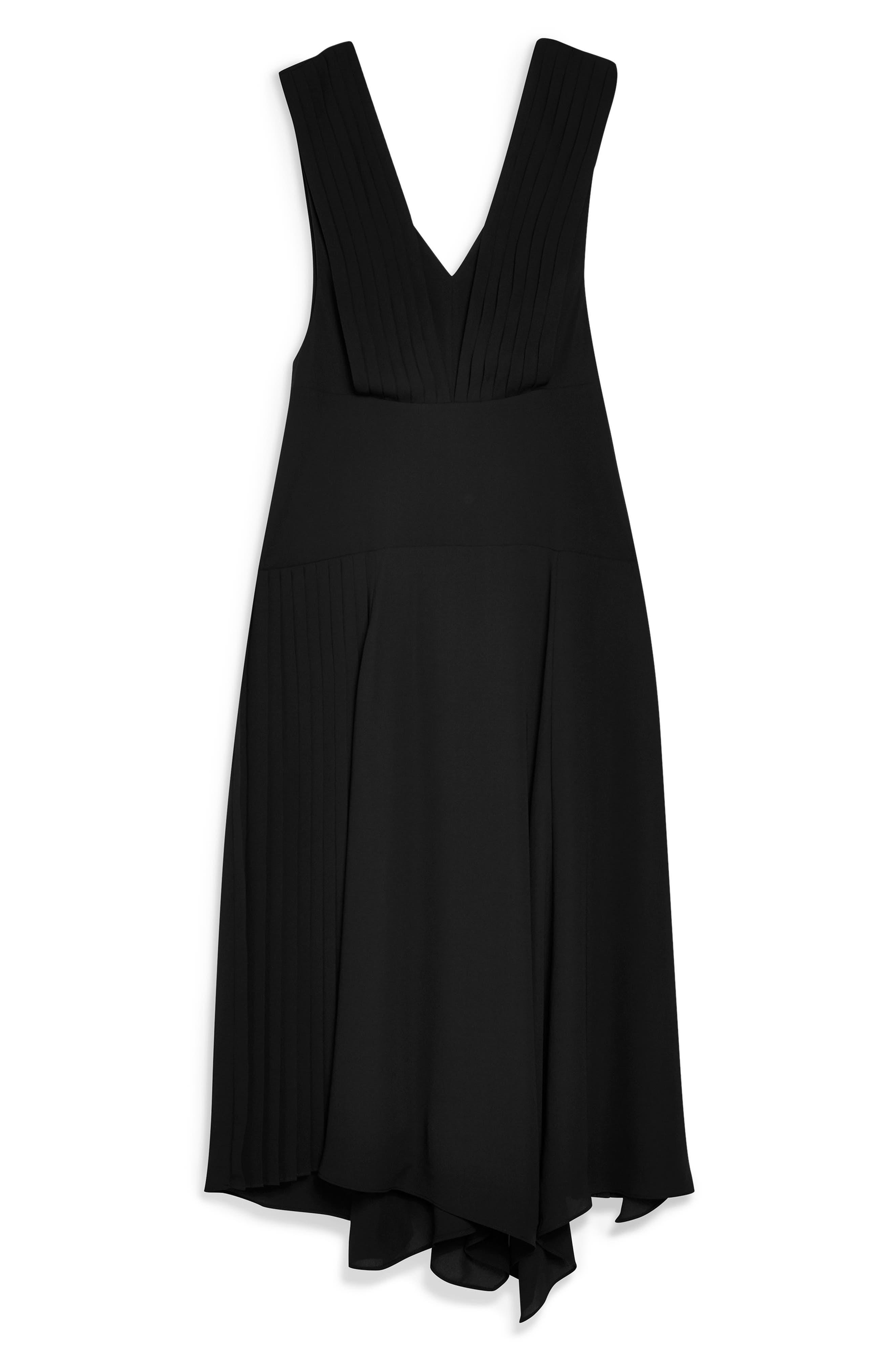 TOPSHOP, Pleated Pinafore Midi Dress, Alternate thumbnail 5, color, BLACK