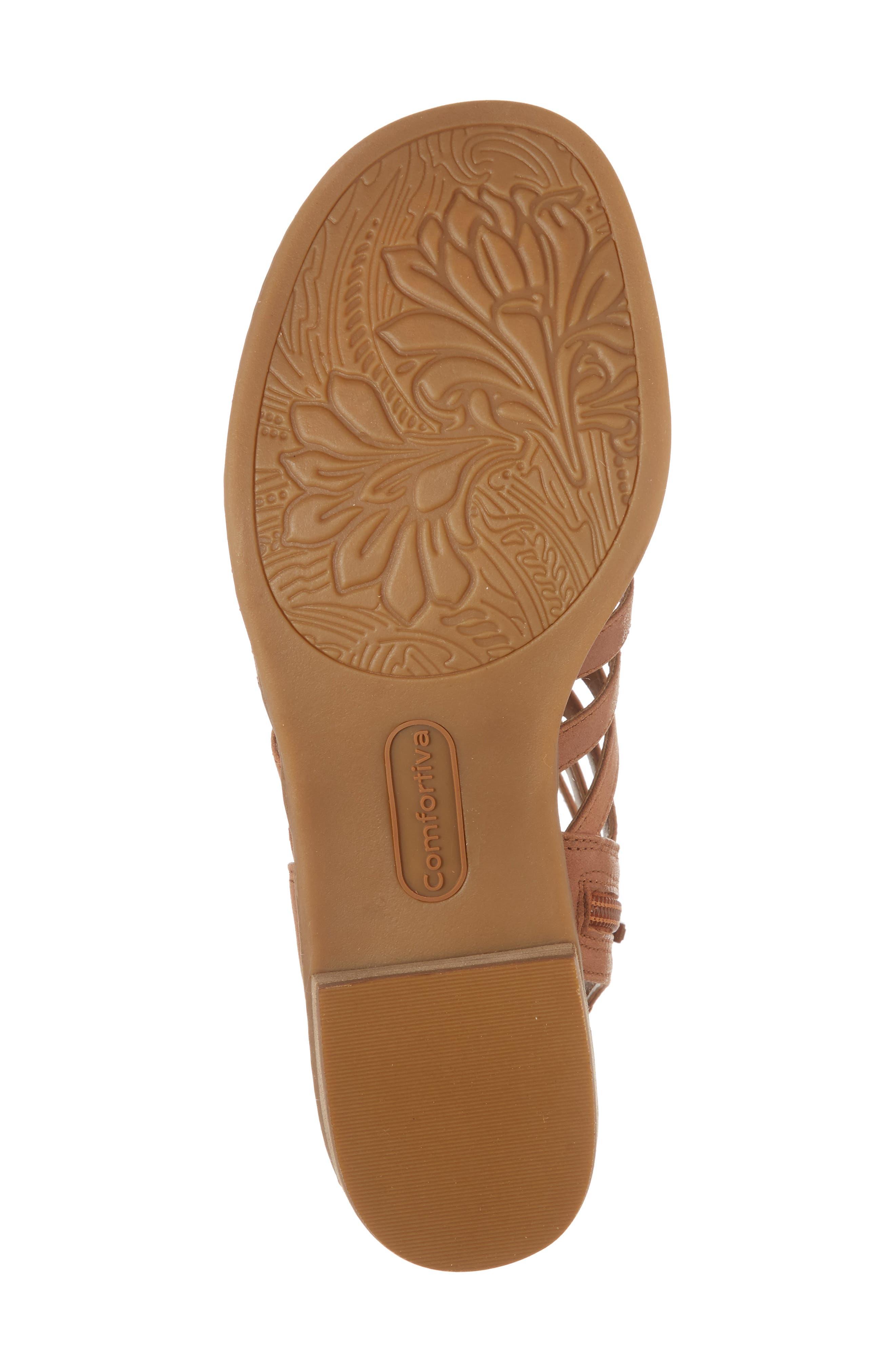 COMFORTIVA, Blossom Sandal, Alternate thumbnail 6, color, WALNUT LEATHER