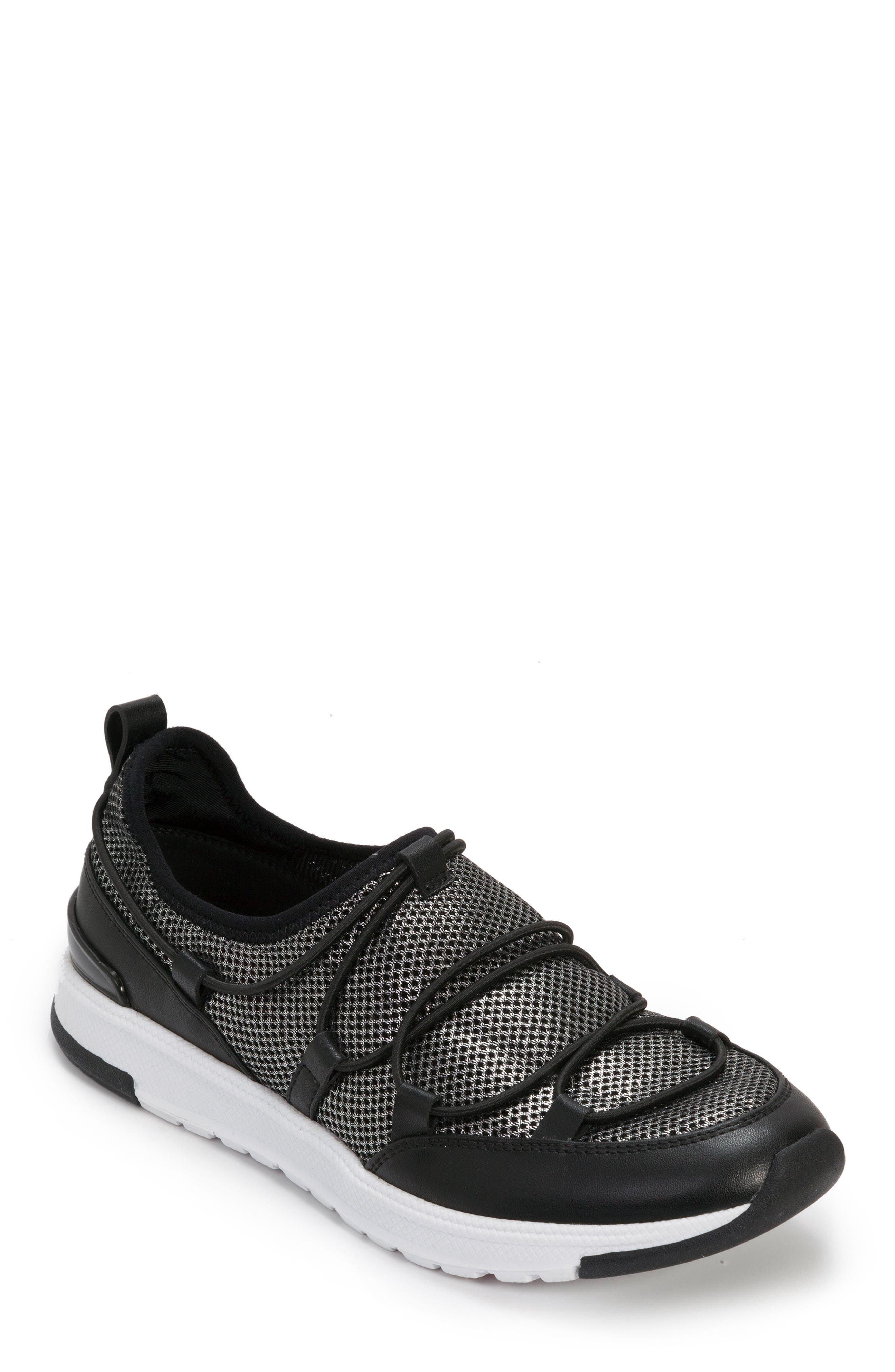 FOOT PETALS, Bree Sneaker, Main thumbnail 1, color, BLACK/ PEWTER