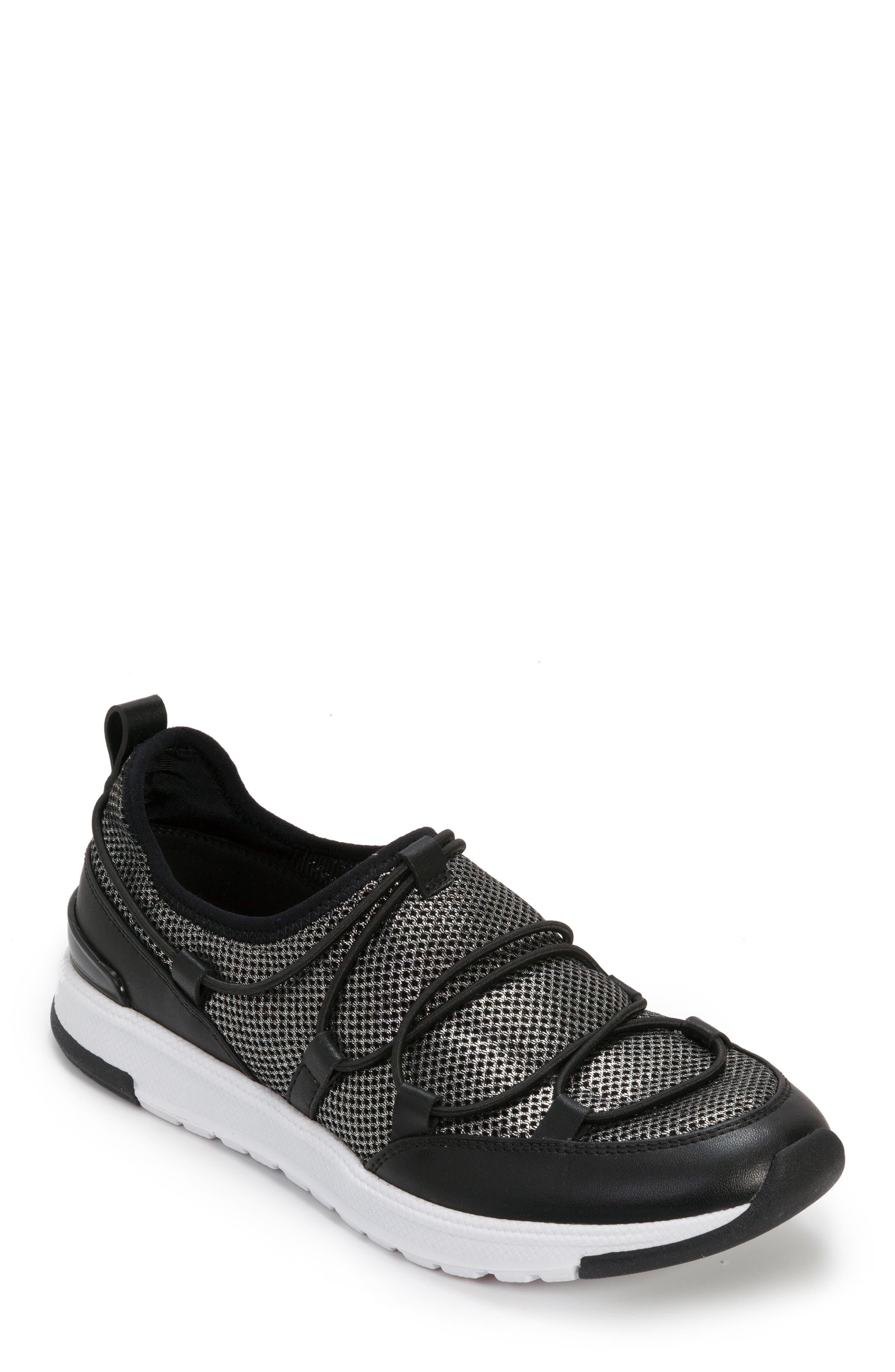 FOOT PETALS Bree Sneaker, Main, color, BLACK/ PEWTER