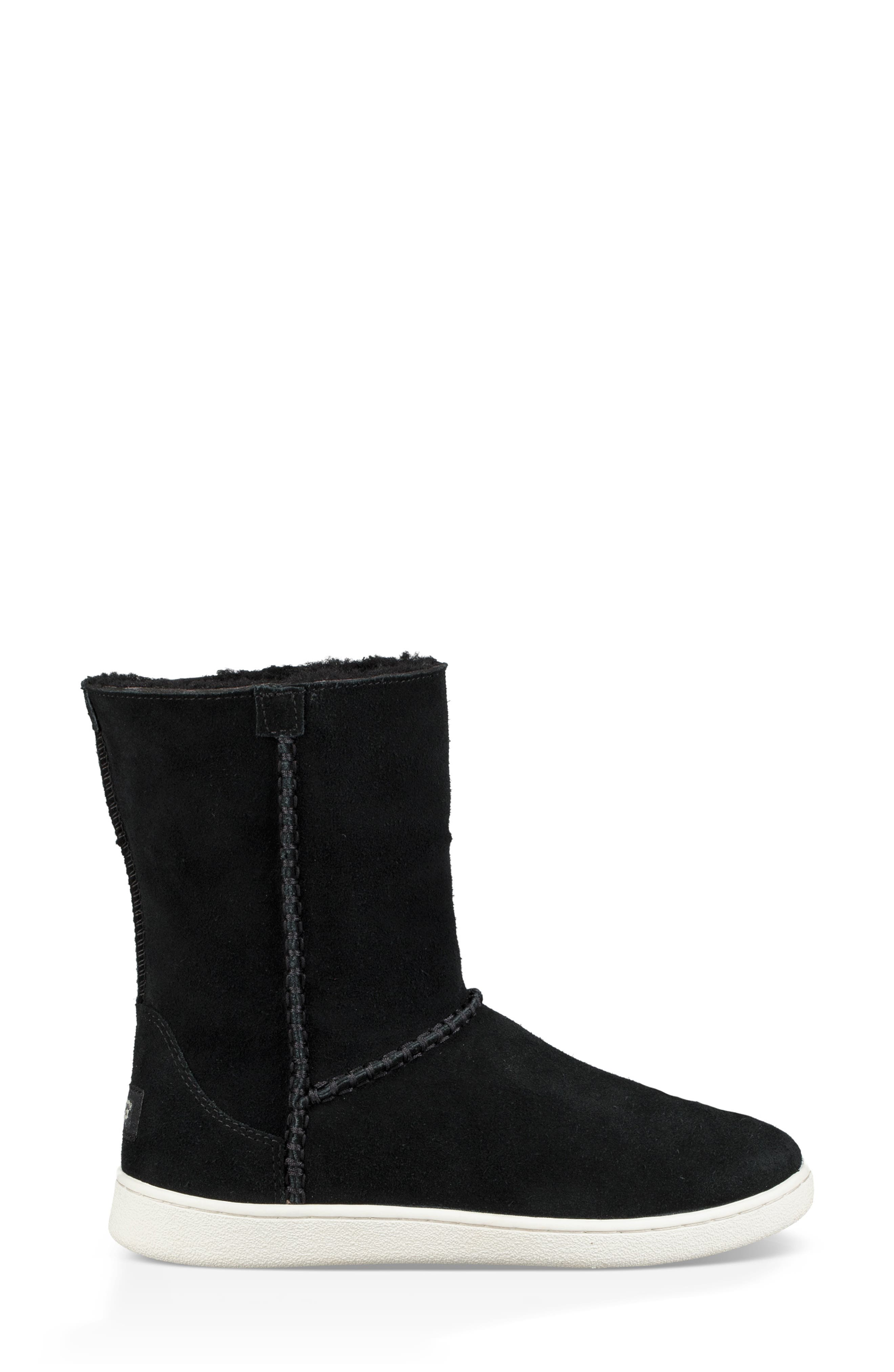 UGG<SUP>®</SUP>, Mika Classic Genuine Shearling Sneaker, Alternate thumbnail 7, color, BLACK