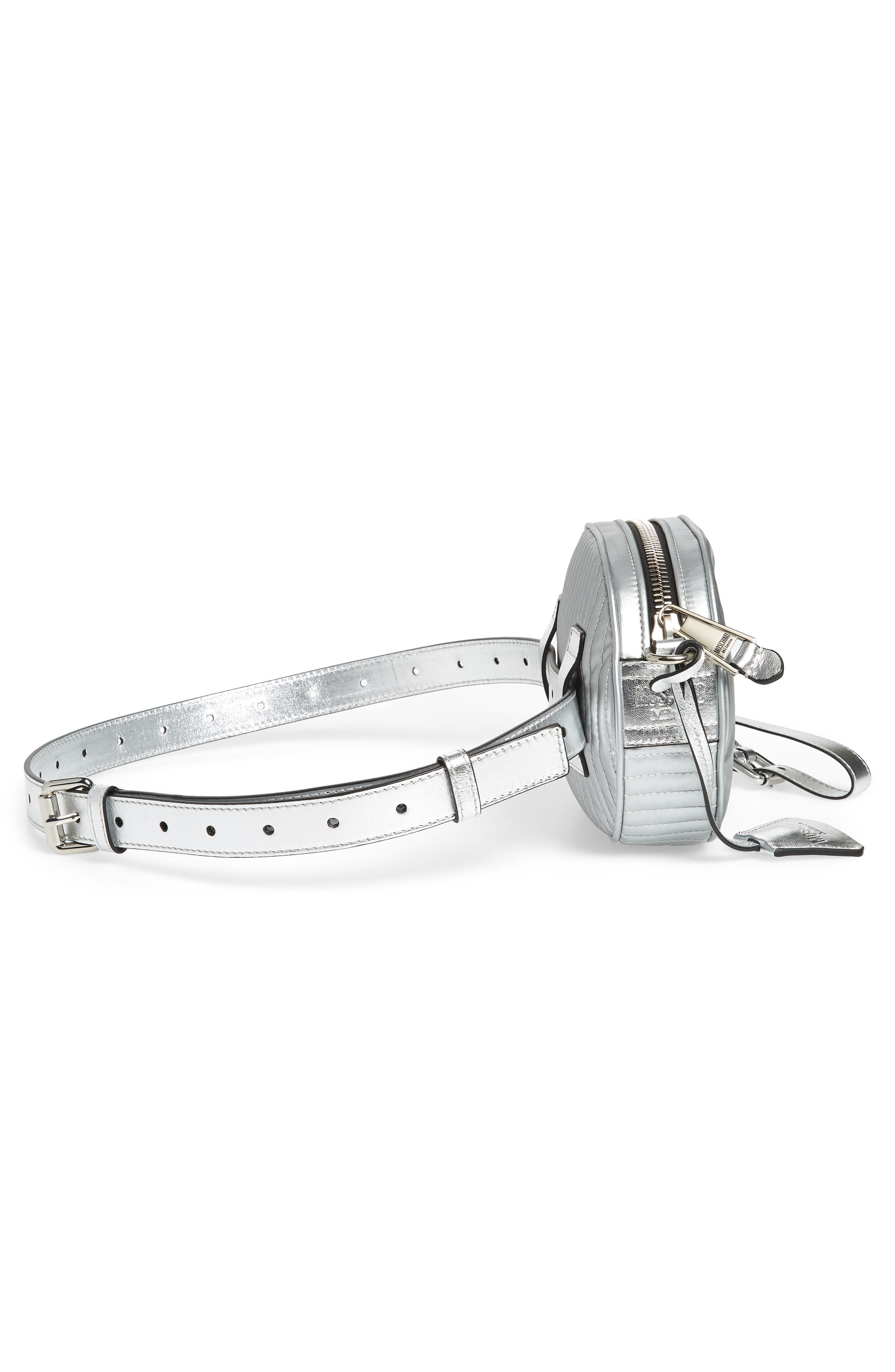 MOSCHINO, Silver Teddy Belt Bag, Alternate thumbnail 6, color, SILVER
