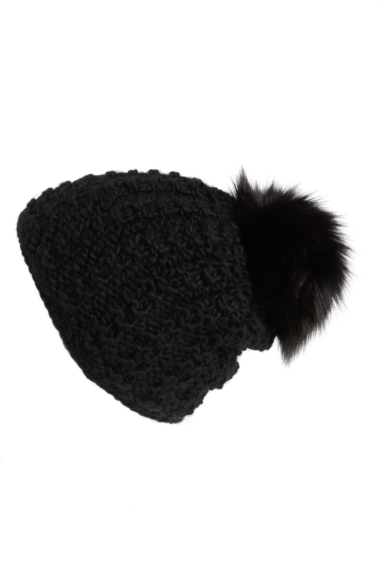 KYI KYI, Genuine Fox Pompom Hat, Main thumbnail 1, color, 001