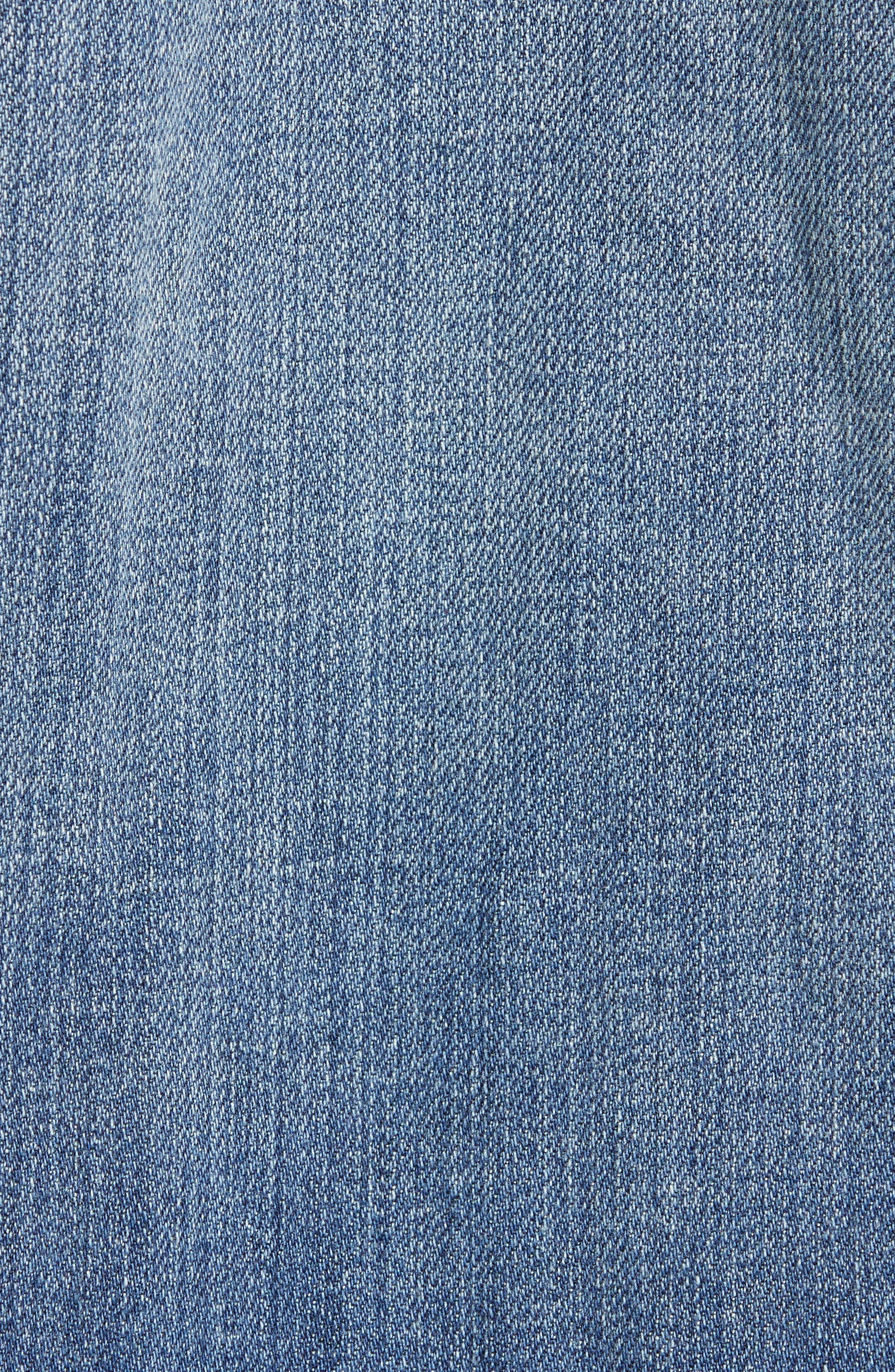EILEEN FISHER, Oversize Stretch Organic Cotton Denim Jacket, Alternate thumbnail 7, color, AGED INDIGO