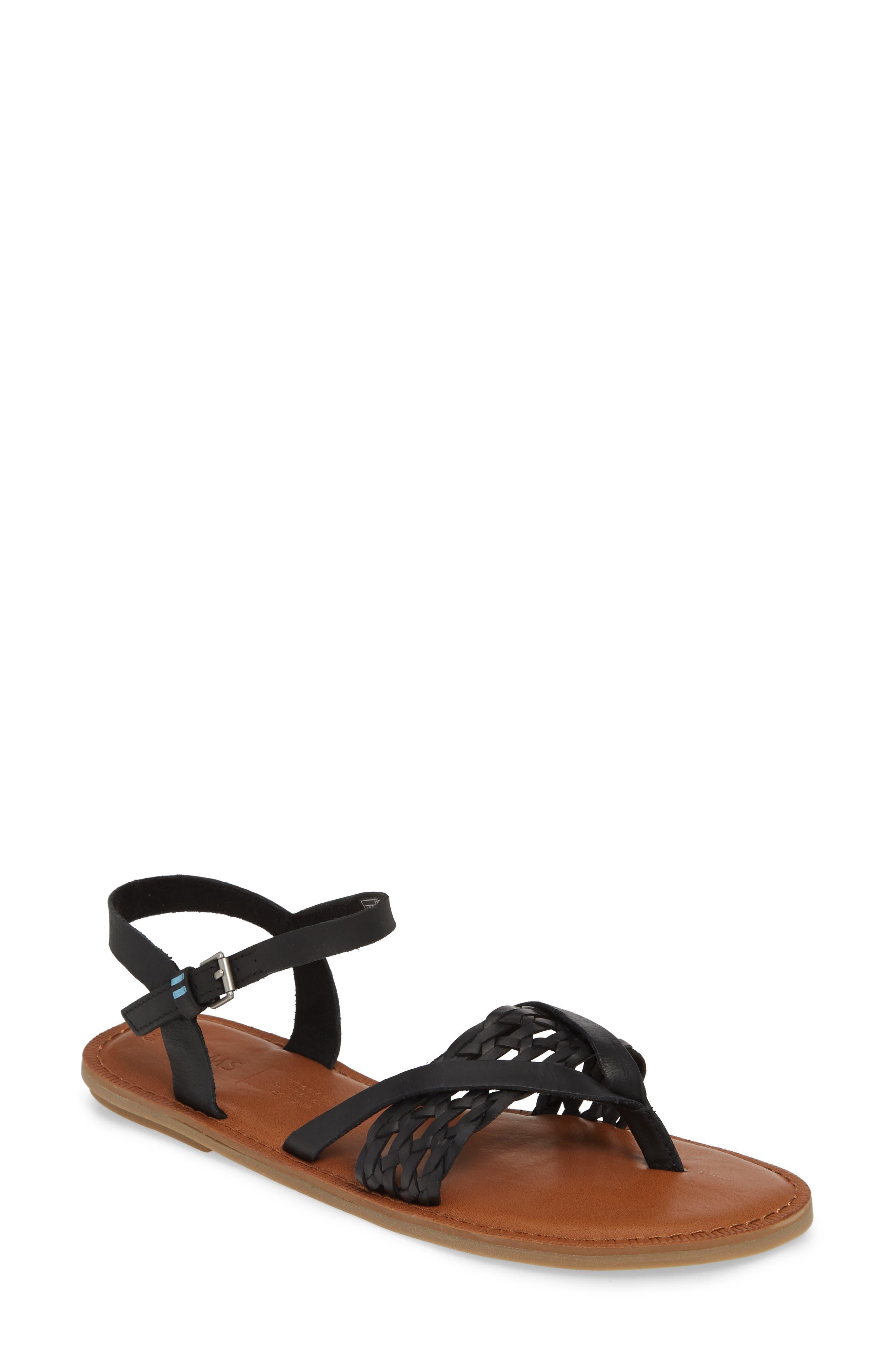 TOMS Lexie Sandal, Main, color, BLACK BRAID LEATHER