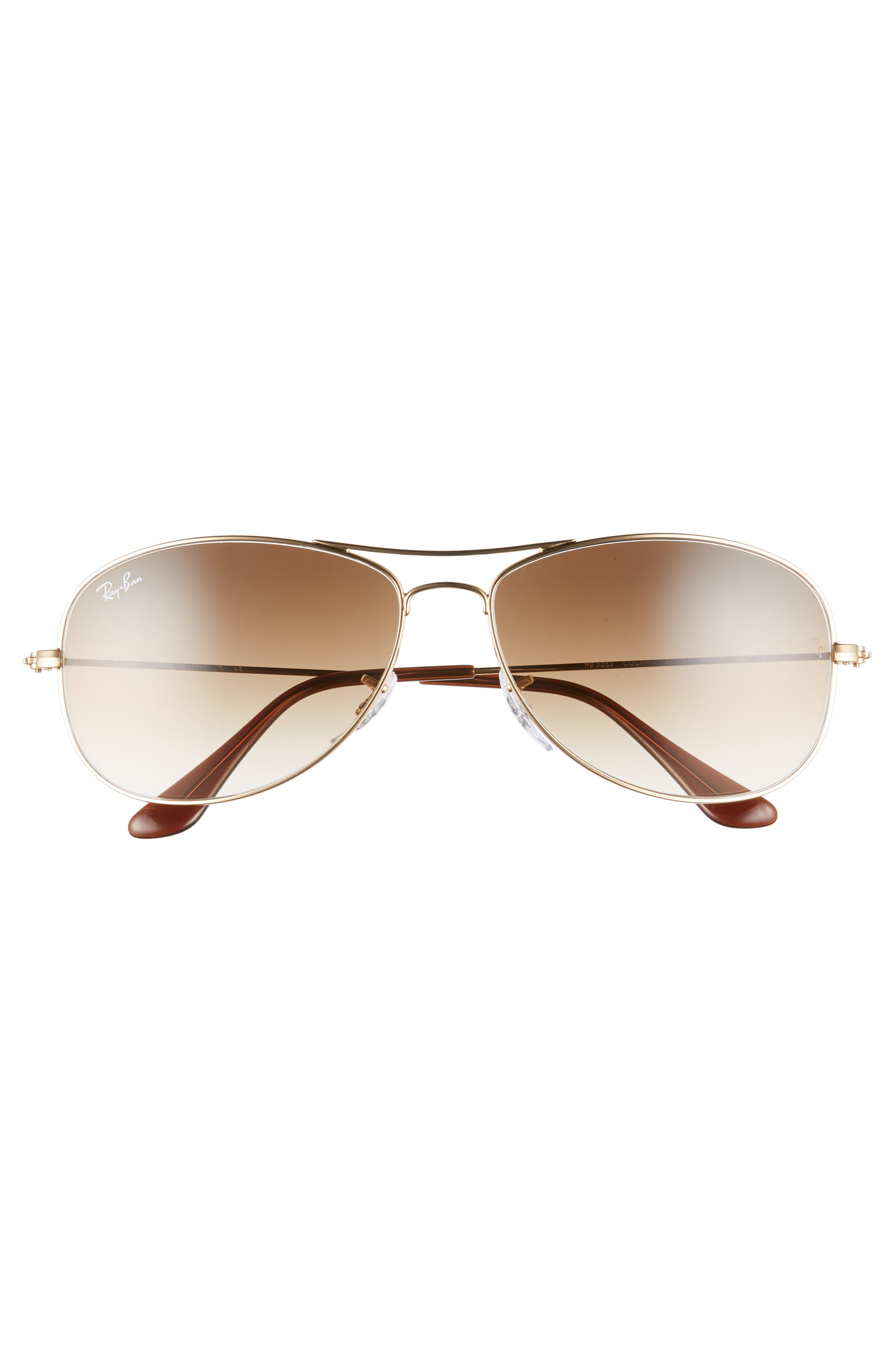 RAY-BAN, New Classic Aviator 59mm Sunglasses, Alternate thumbnail 3, color, GOLD/ BROWN GRADIENT