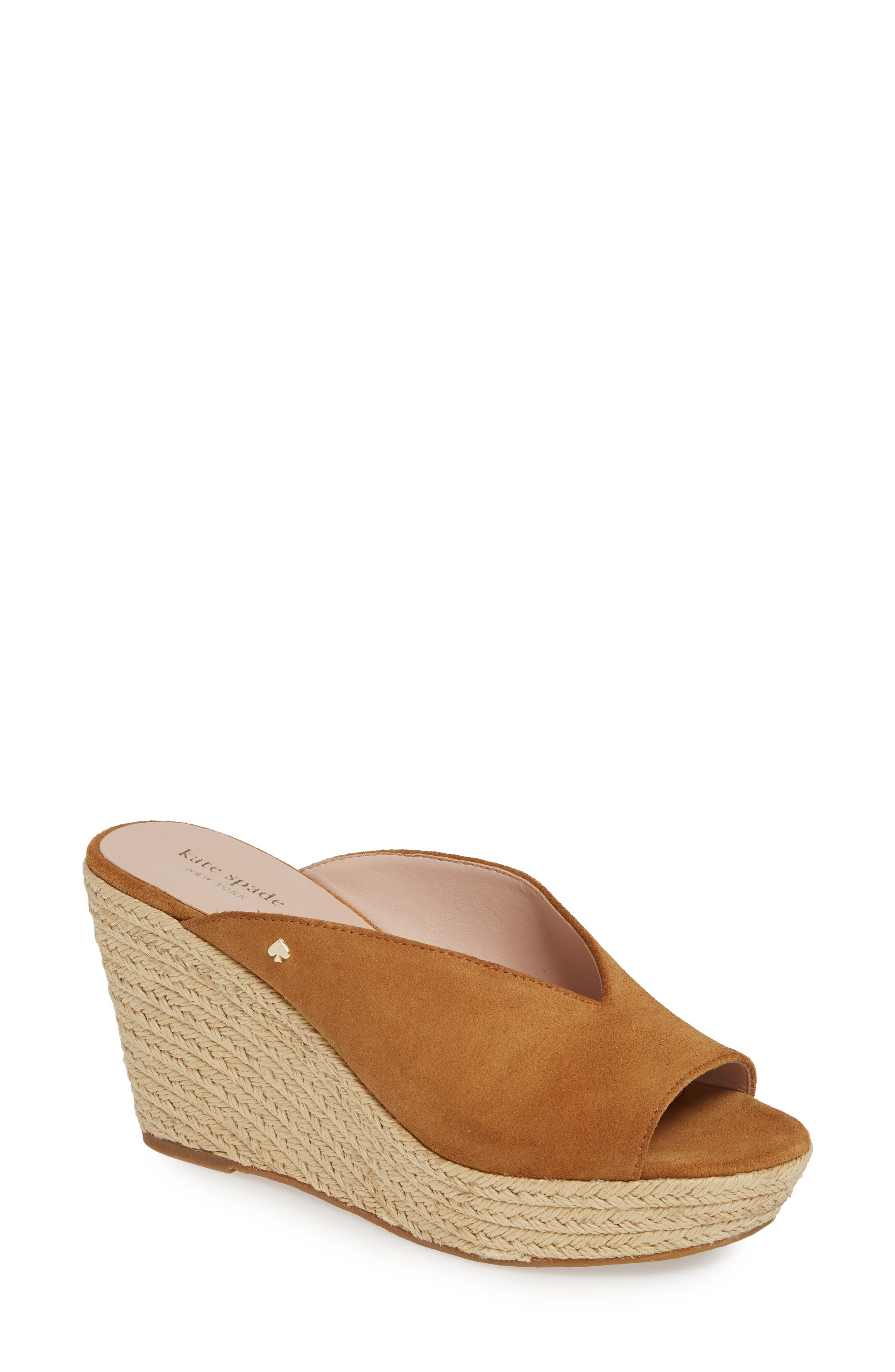 KATE SPADE NEW YORK thea wedge espadrille mule, Main, color, TOAST