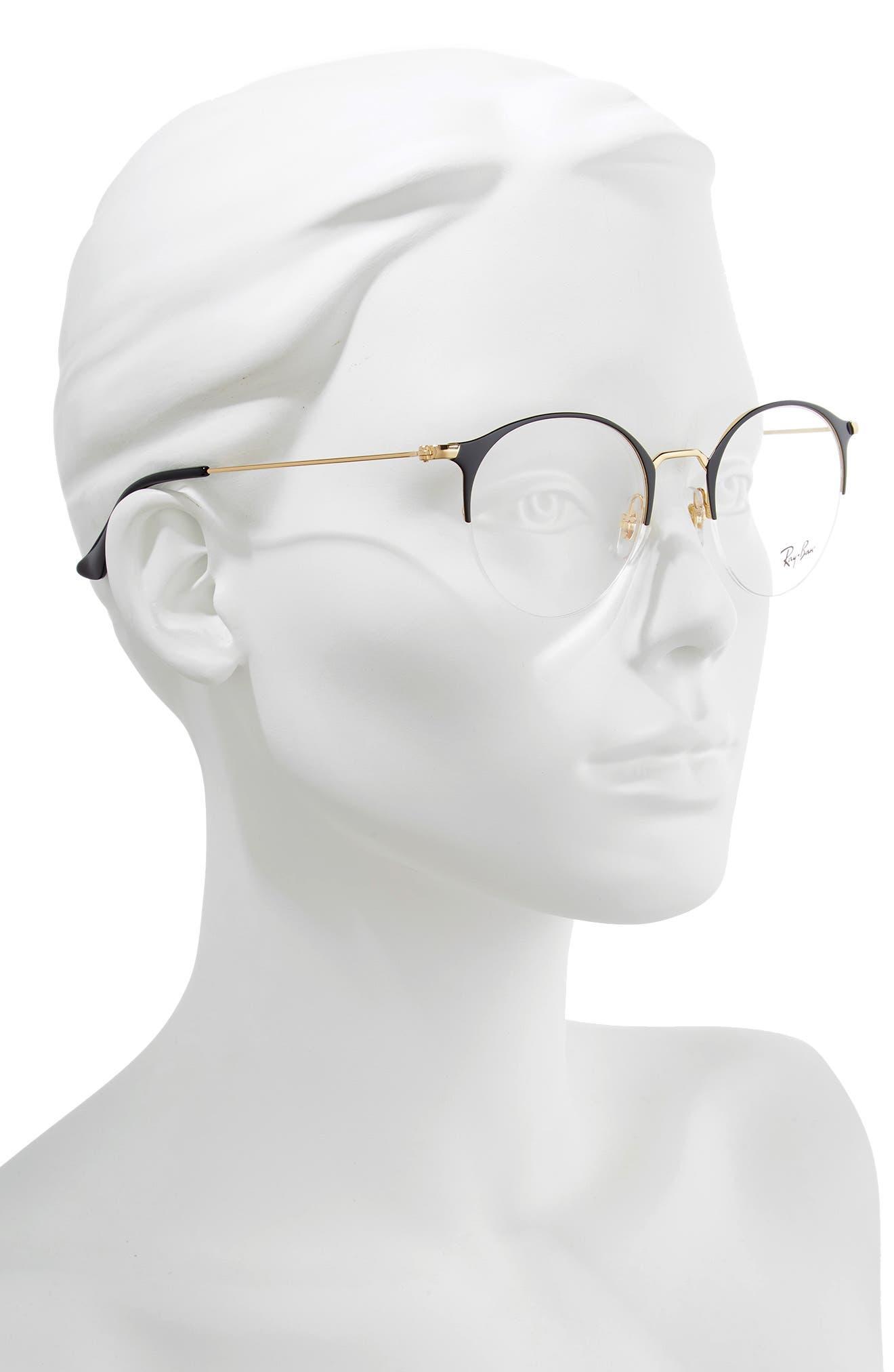 RAY-BAN, 50mm Optical Glasses, Alternate thumbnail 2, color, BLACK/ GOLD