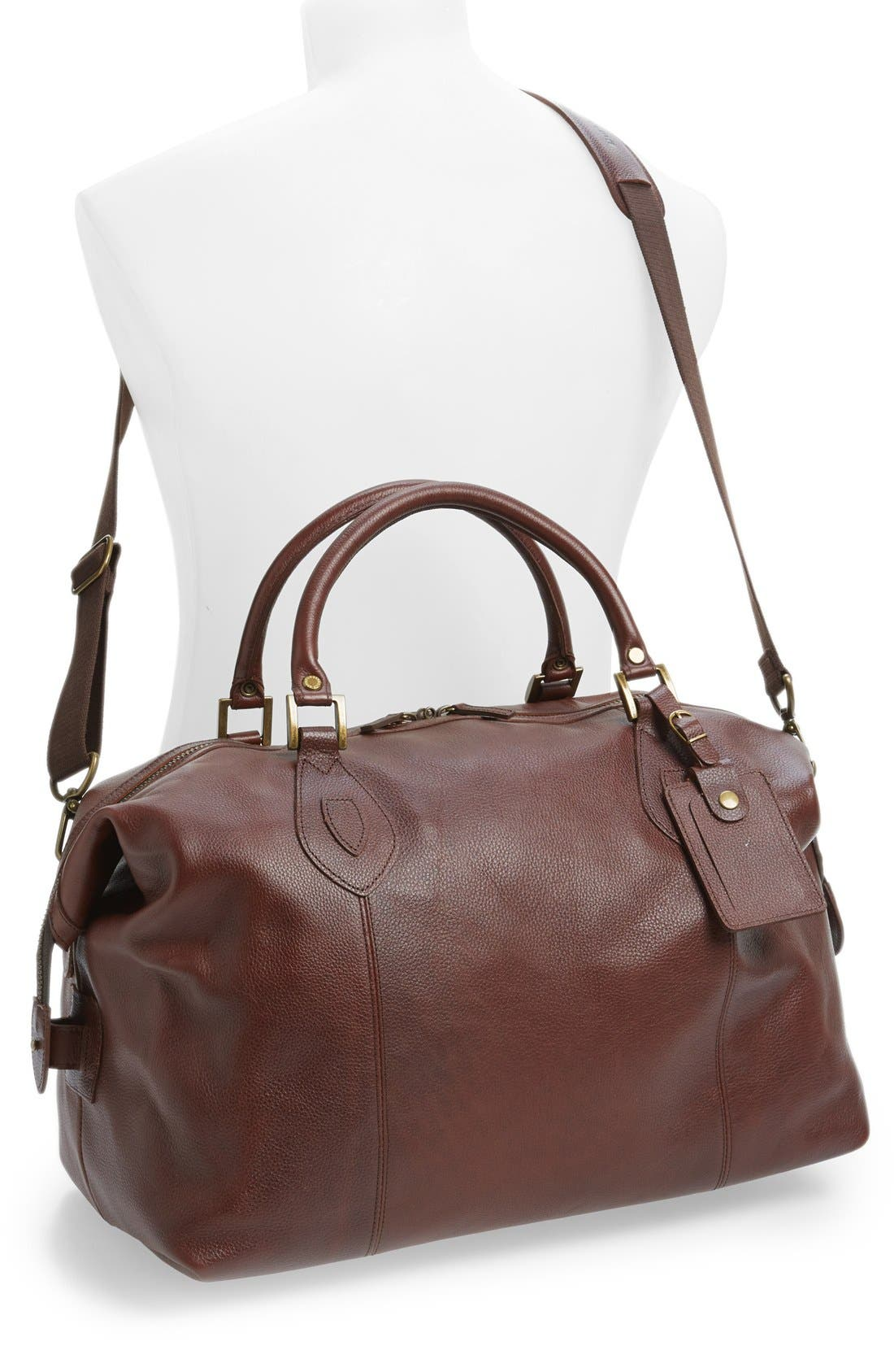 BARBOUR, Leather Travel Bag, Alternate thumbnail 3, color, DARK BROWN