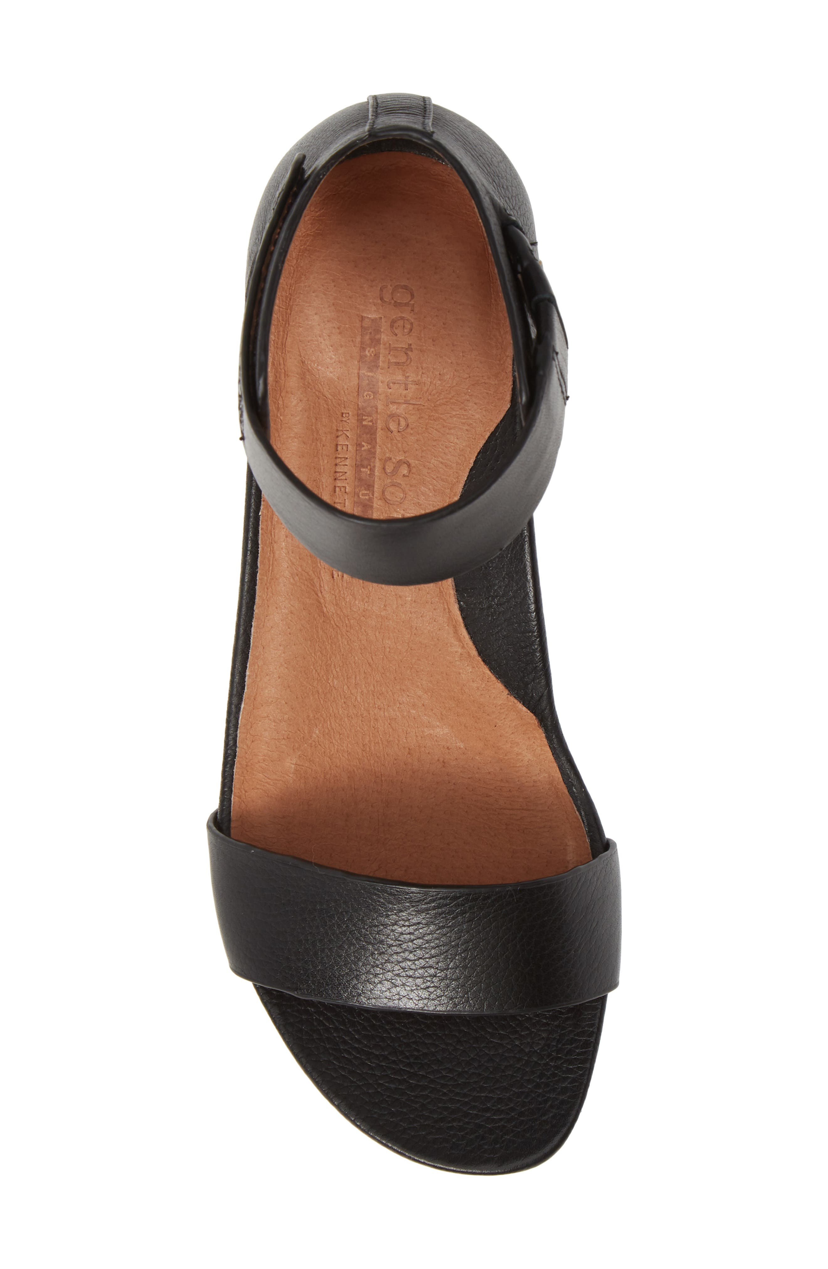 GENTLE SOULS SIGNATURE, Gianna Wedge Sandal, Alternate thumbnail 5, color, BLACK LEATHER