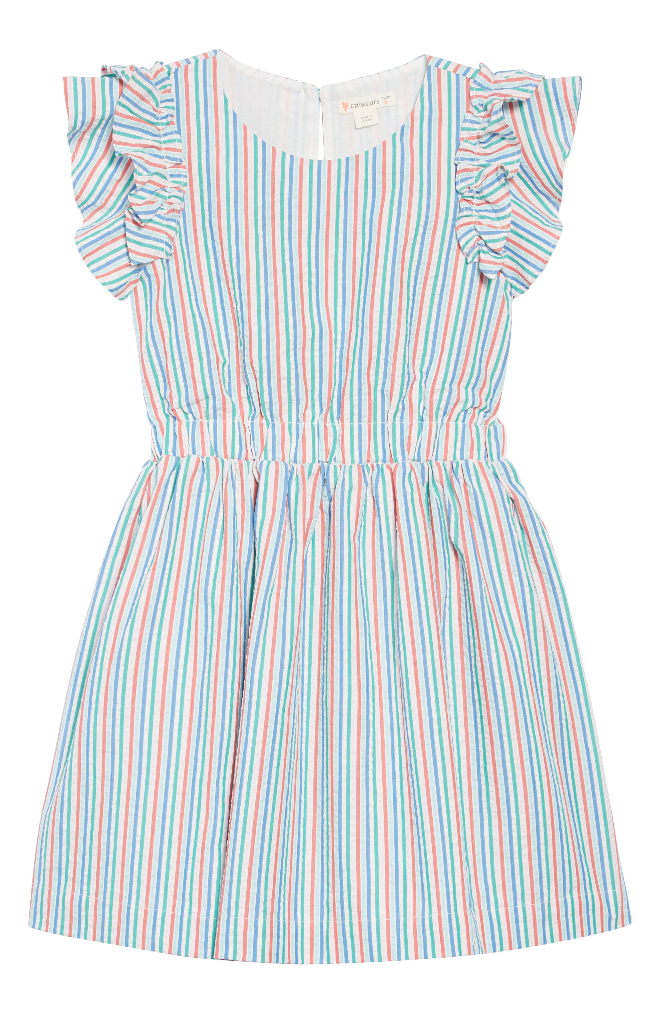 CREWCUTS BY J.CREW, Kate Ruffle Seersucker Dress, Main thumbnail 1, color, IVORY BLUE MULTI