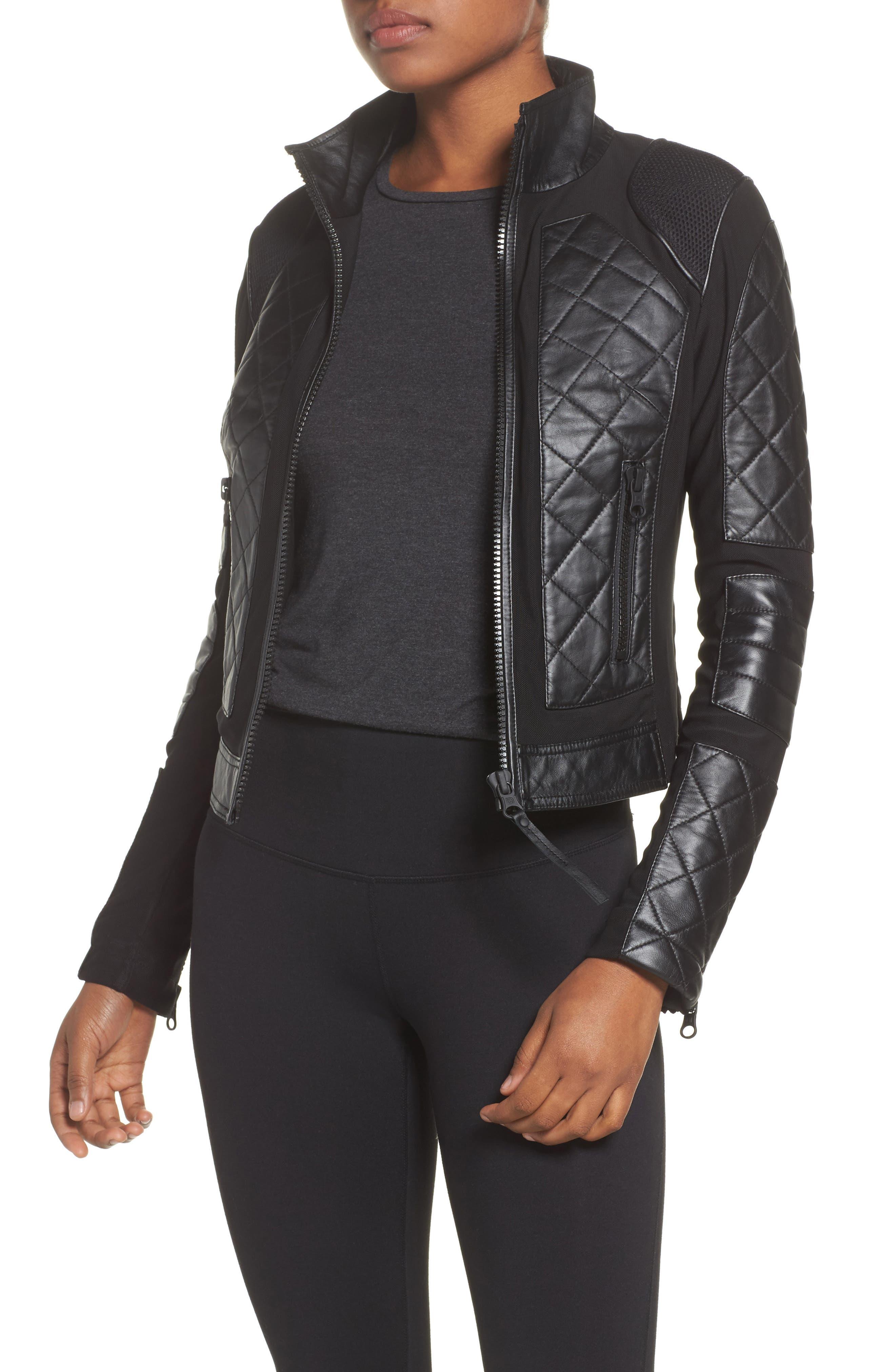 BLANC NOIR, Leather & Mesh Moto Jacket, Main thumbnail 1, color, BLACK