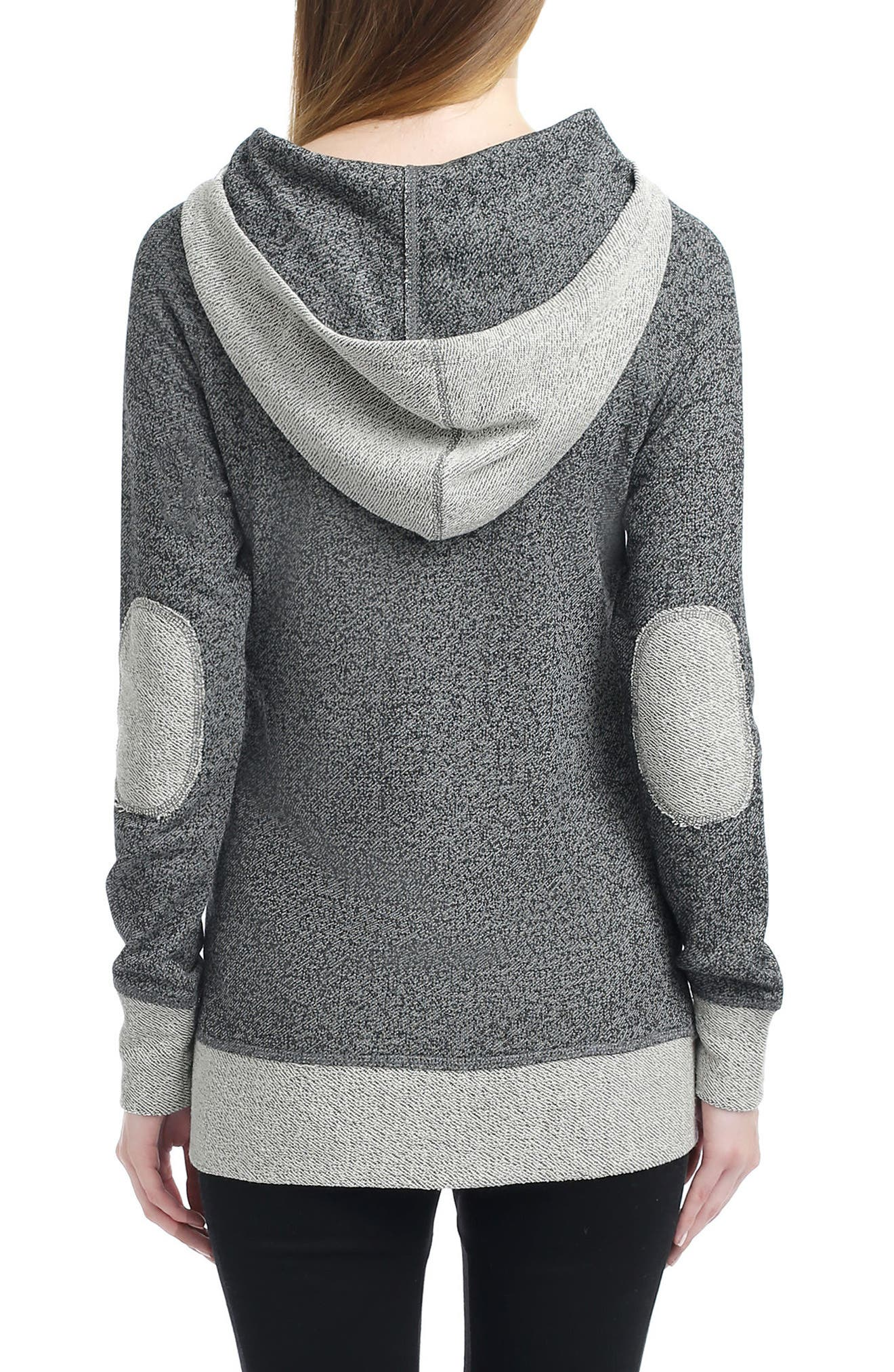KIMI AND KAI, Pippy Cowl Neck Maternity Hoodie, Main thumbnail 1, color, GREY