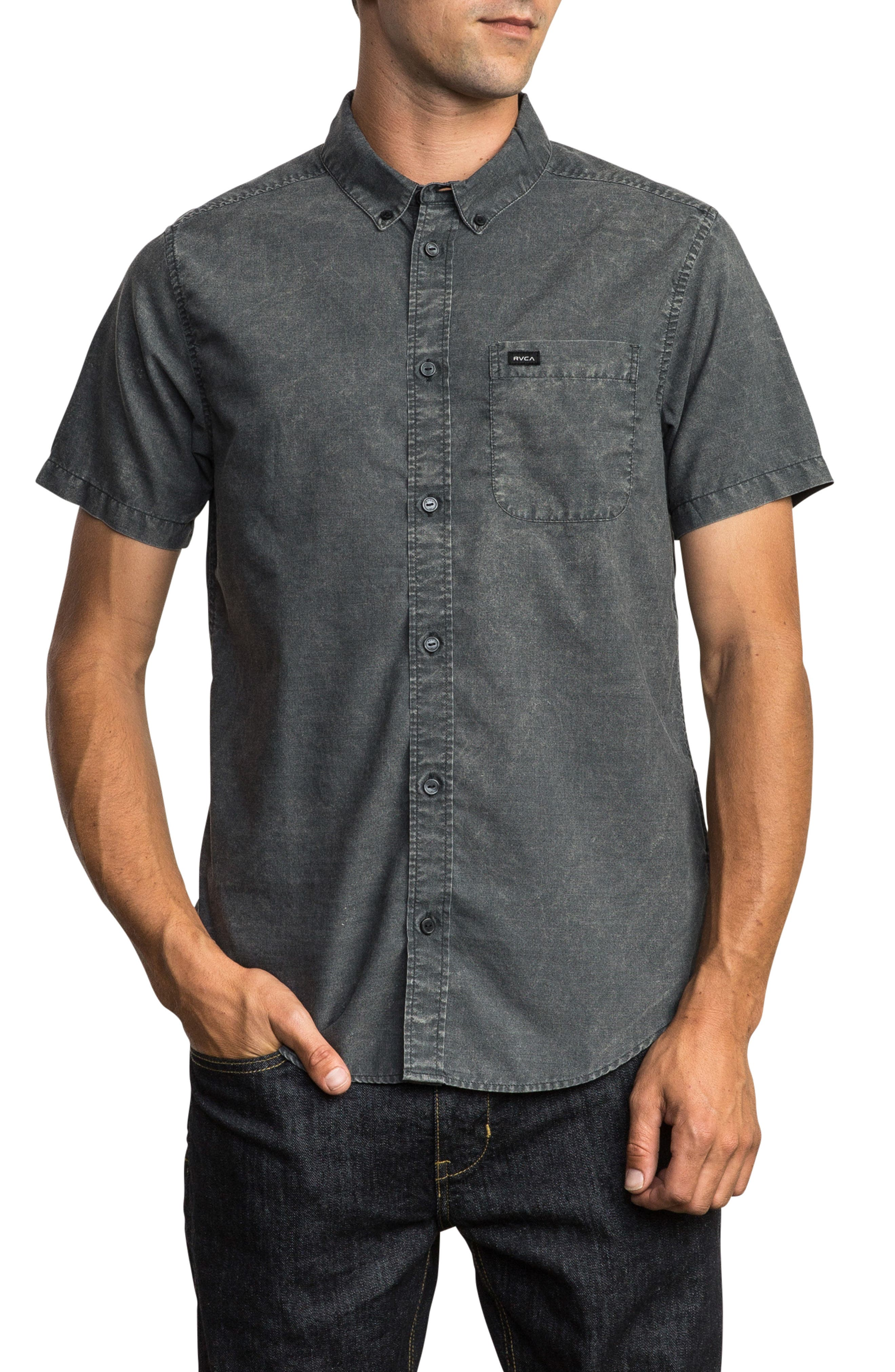 RVCA That'll Do Chambray Woven Shirt, Main, color, PIRATE BLACK