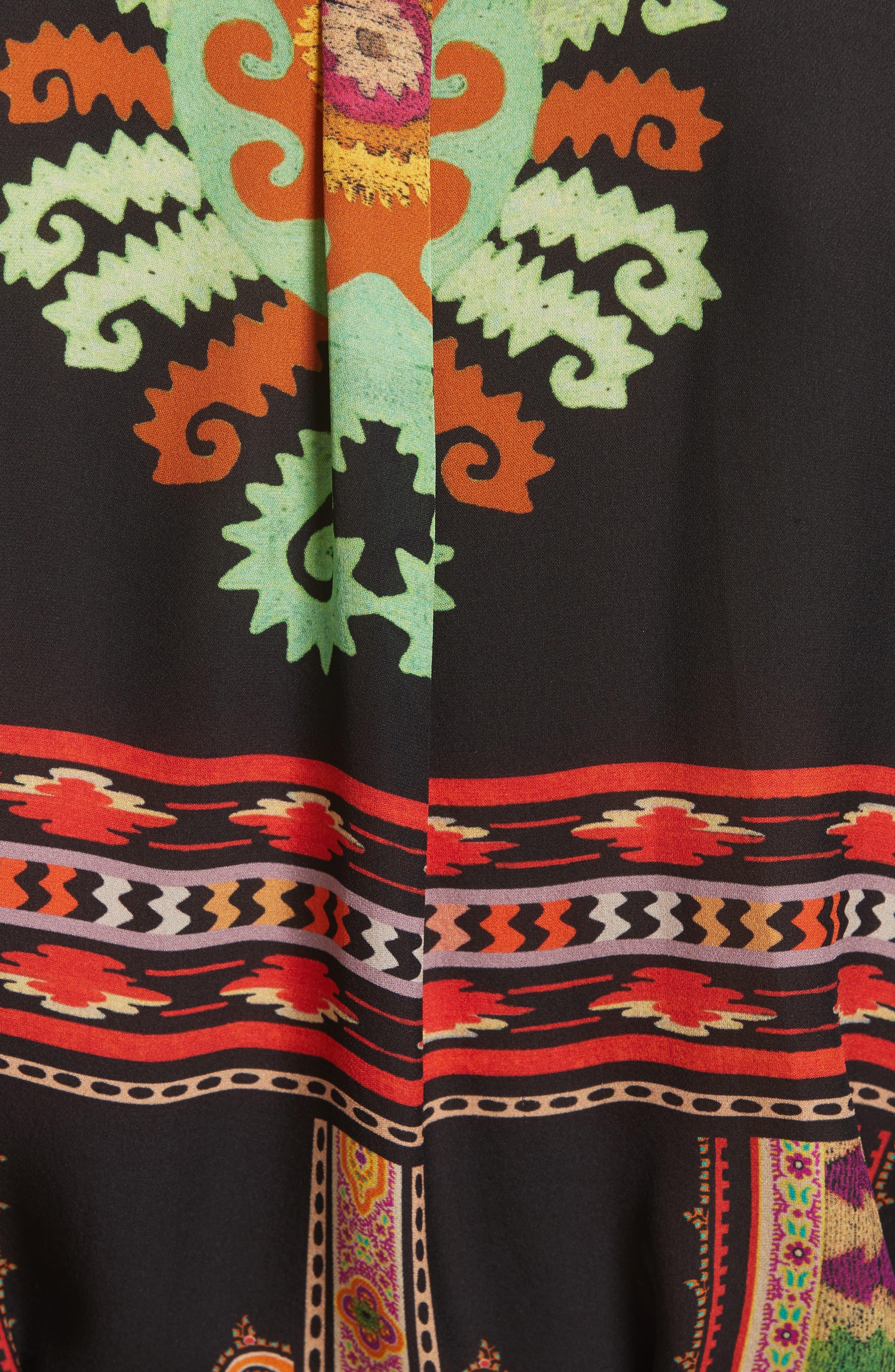 ETRO, Suzani Print Silk Tunic, Alternate thumbnail 5, color, 001