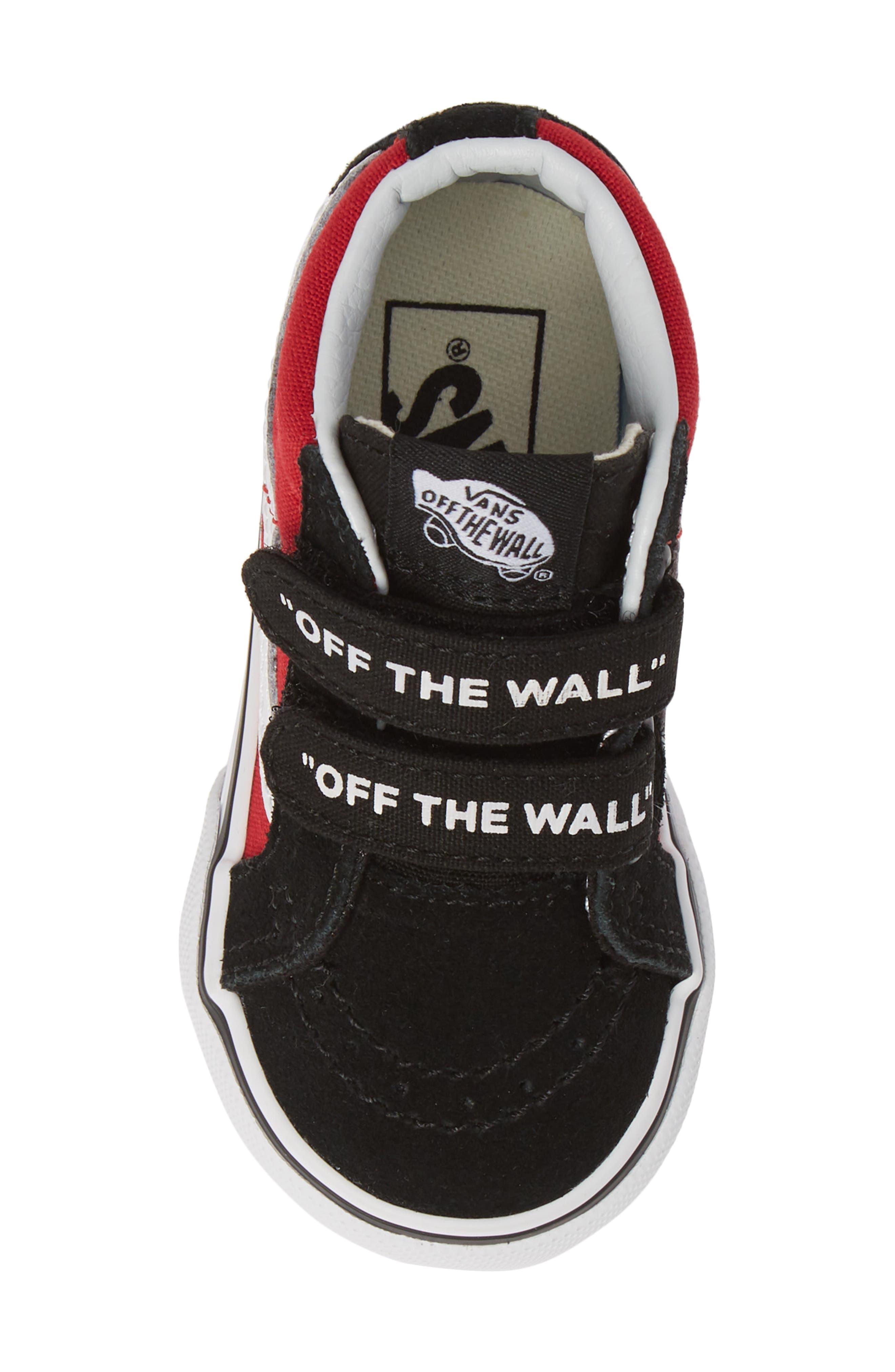VANS, 'Sk8-Mid Reissue' Sneaker, Alternate thumbnail 5, color, BLACK/ RED / WHITE