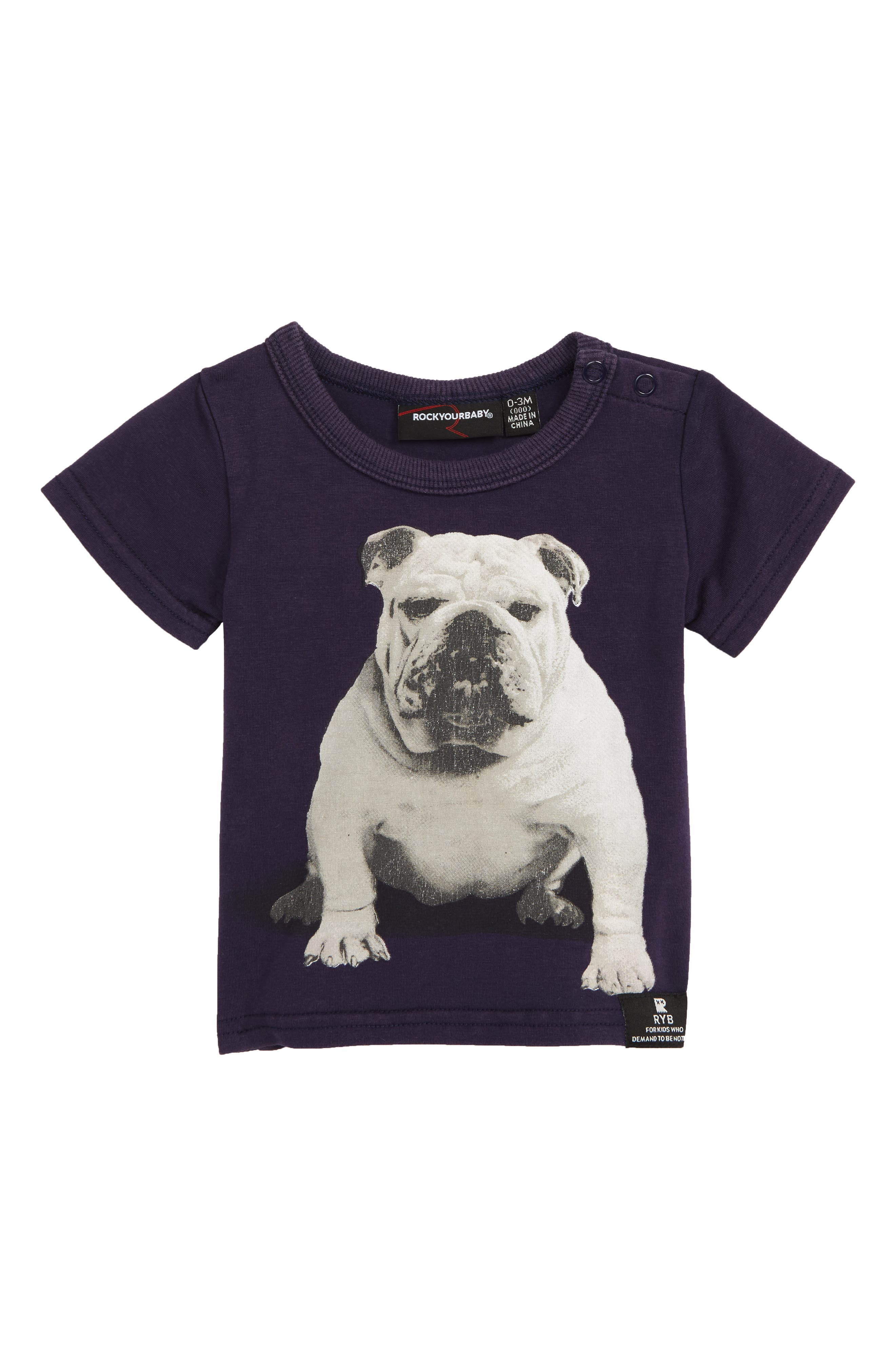 ROCK YOUR BABY Little Bruiser T-Shirt, Main, color, NAVY WASH