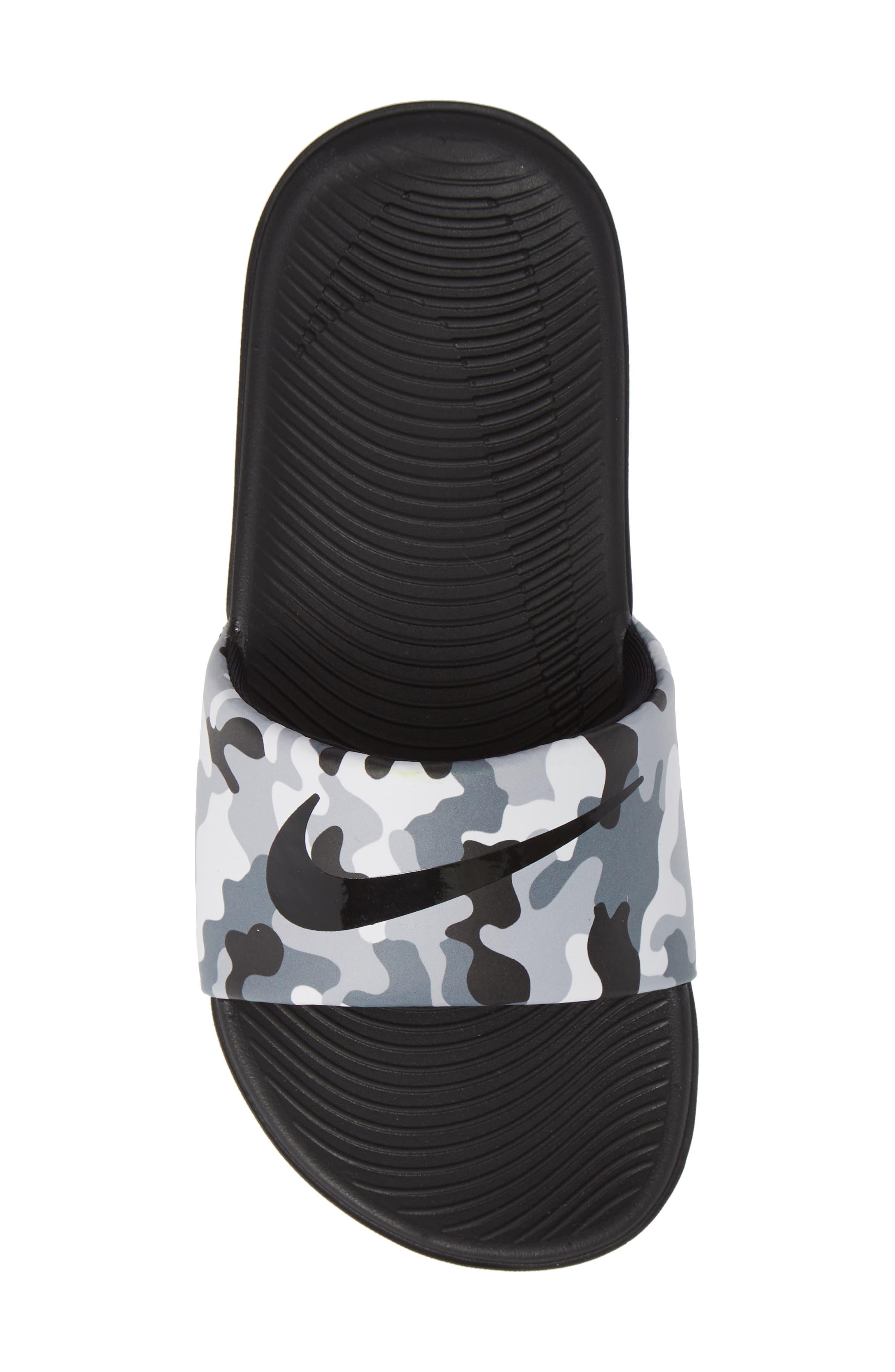 NIKE, Kawa Slide Sandal, Alternate thumbnail 5, color, WOLF GREY/ BLACK/ WHITE