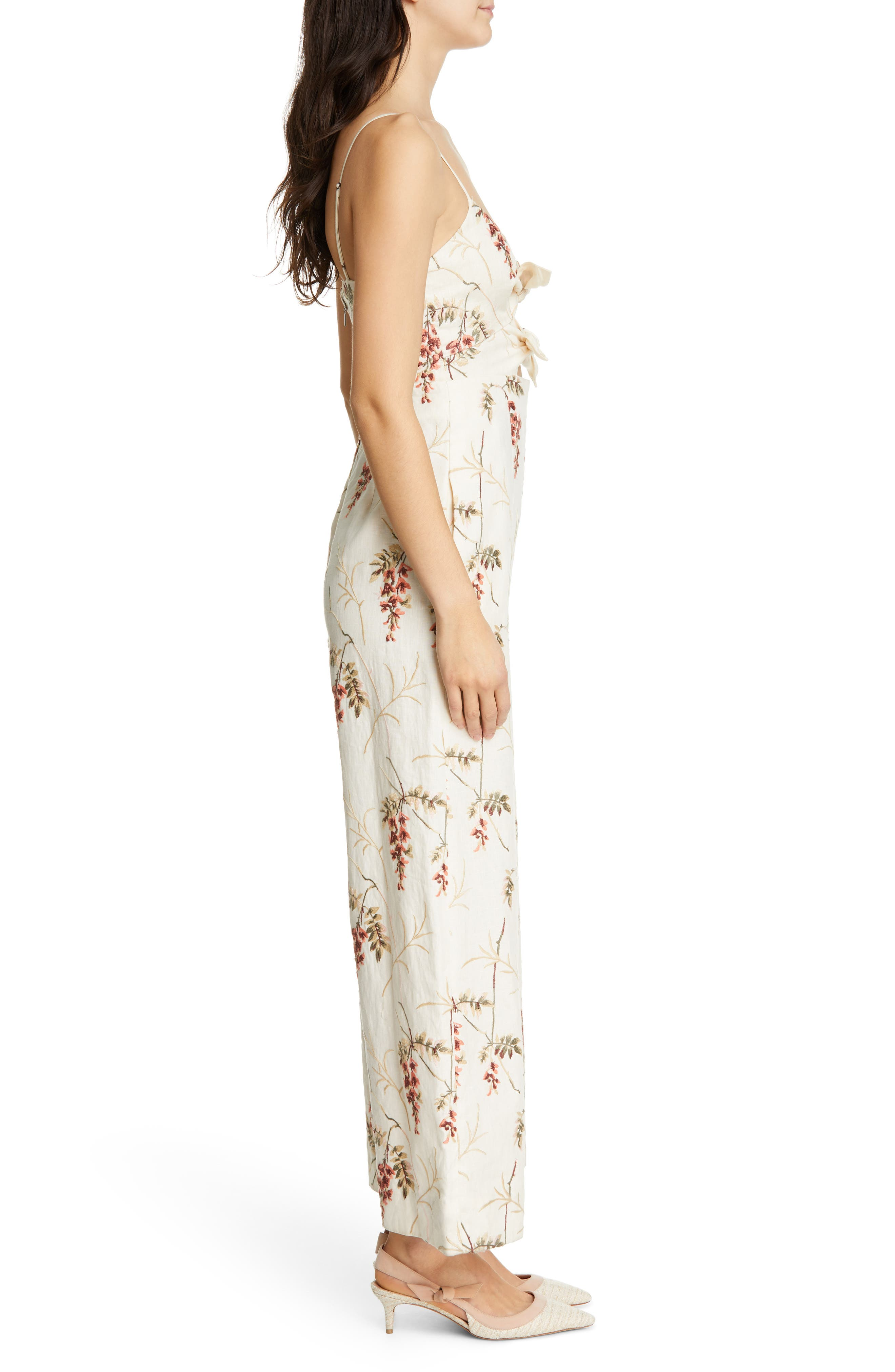 REBECCA TAYLOR, Embroidered Linen Jumpsuit, Alternate thumbnail 4, color, CREAM COMBO